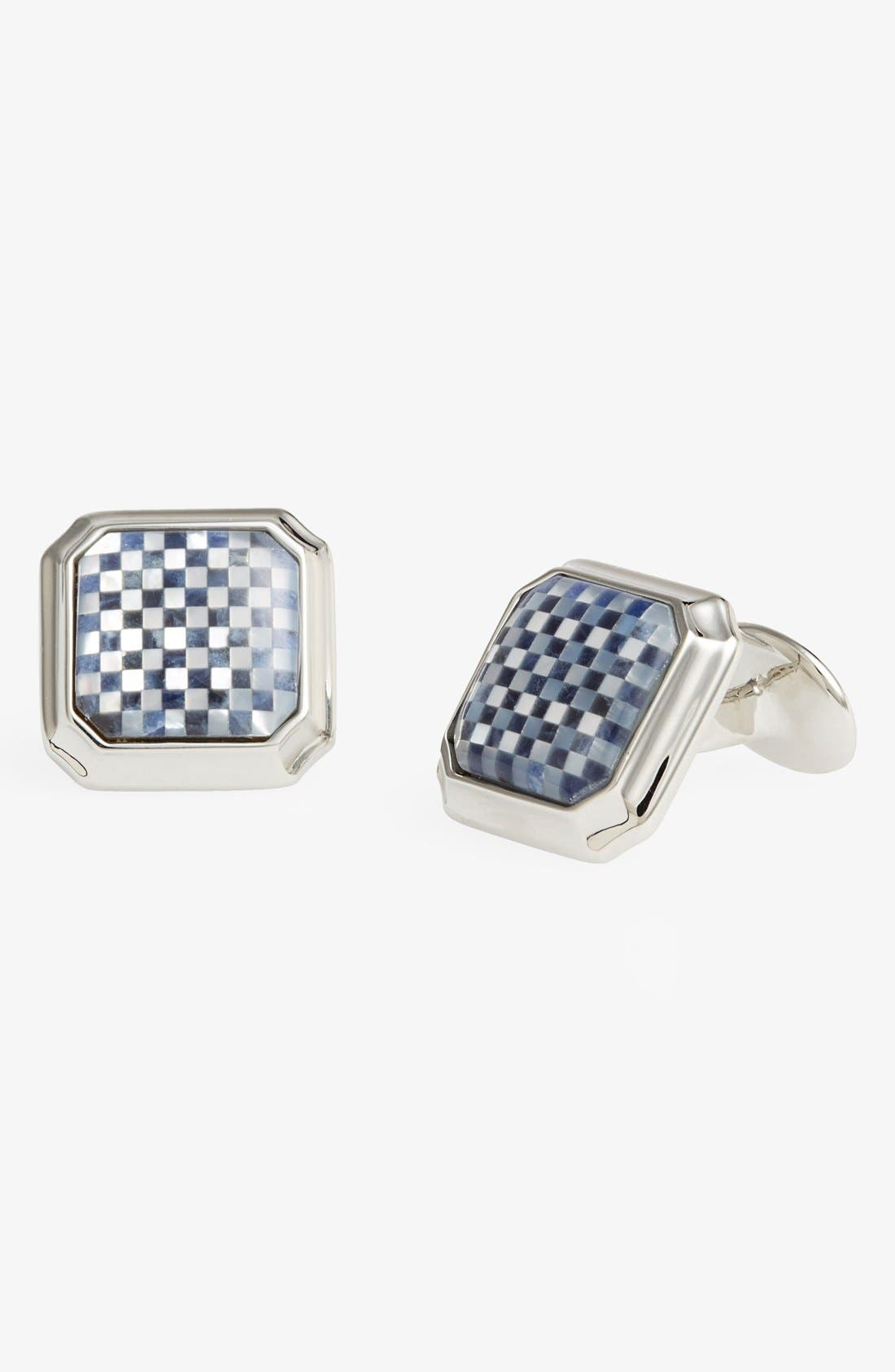 Mother of Pearl & Sodalite Cuff Links,                         Main,                         color, Silver/ Black