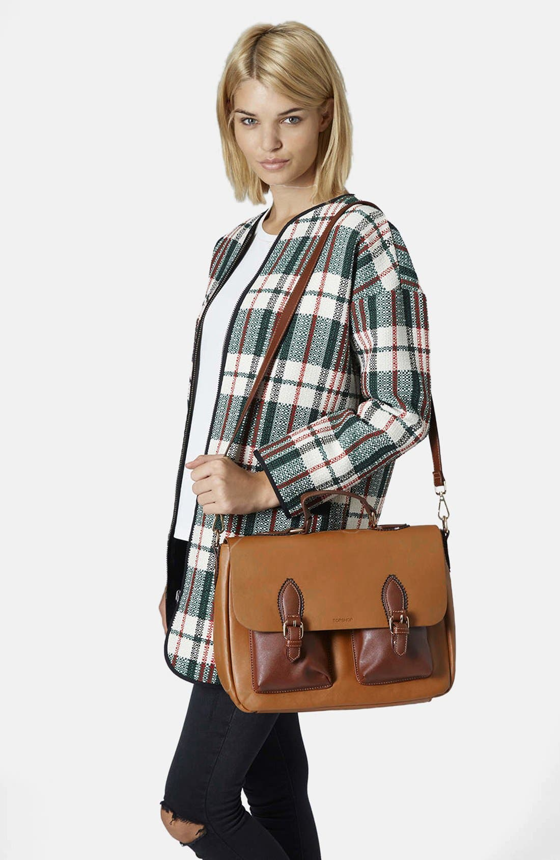 Alternate Image 2  - Topshop 'Saffiano' Colorblock Satchel