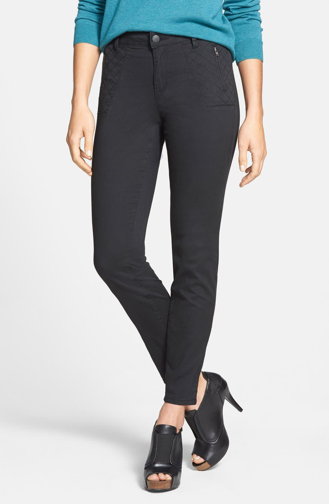 'Rockin Betty' Quilt Detail Pants,                             Main thumbnail 1, color,                             Black