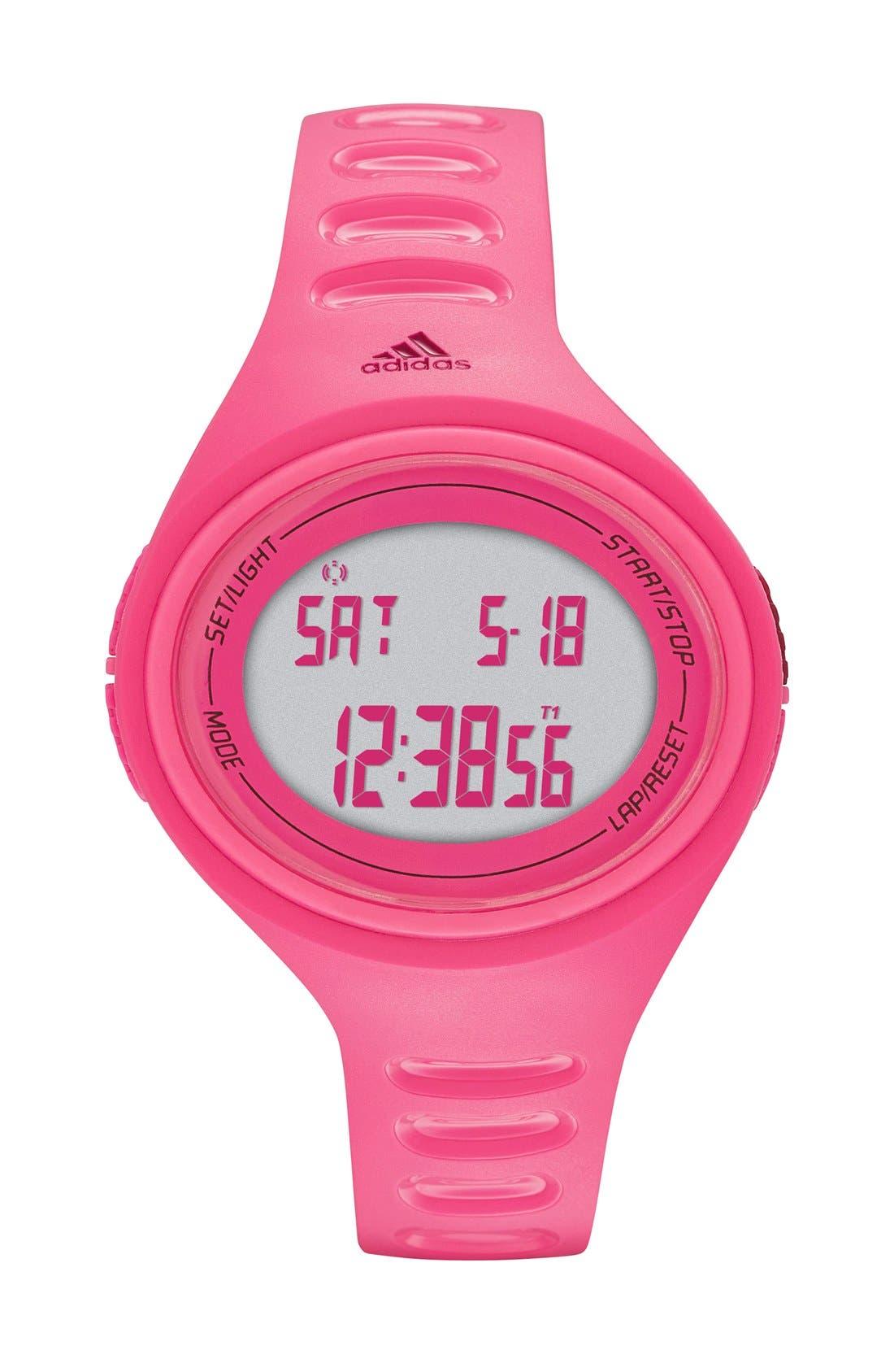 'Adizero' Digital Watch, 43mm x 38mm,                         Main,                         color, Pink