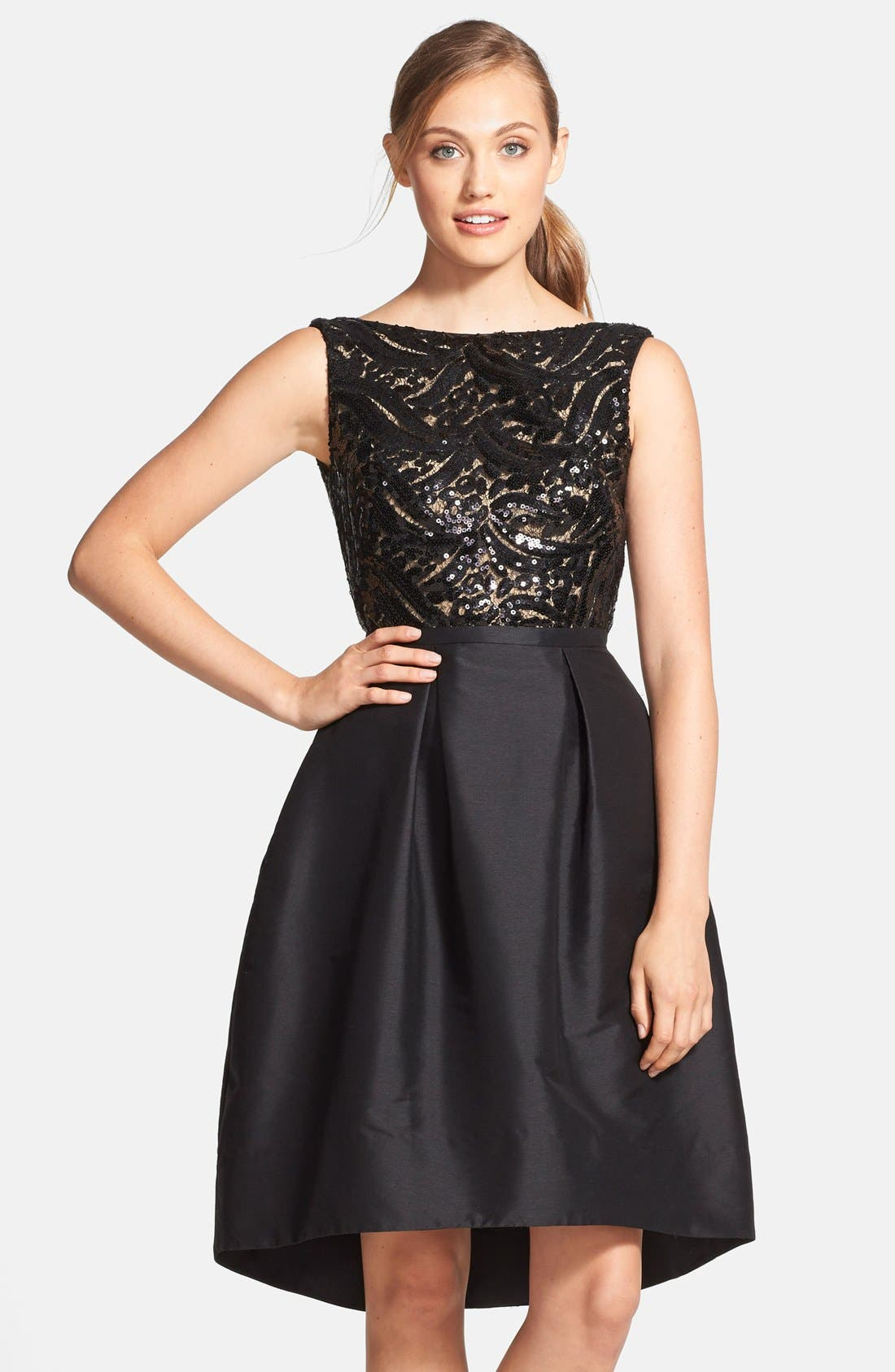 Main Image - ML Monique Lhuillier Sequin Bodice Faille Fit & Flare Dress