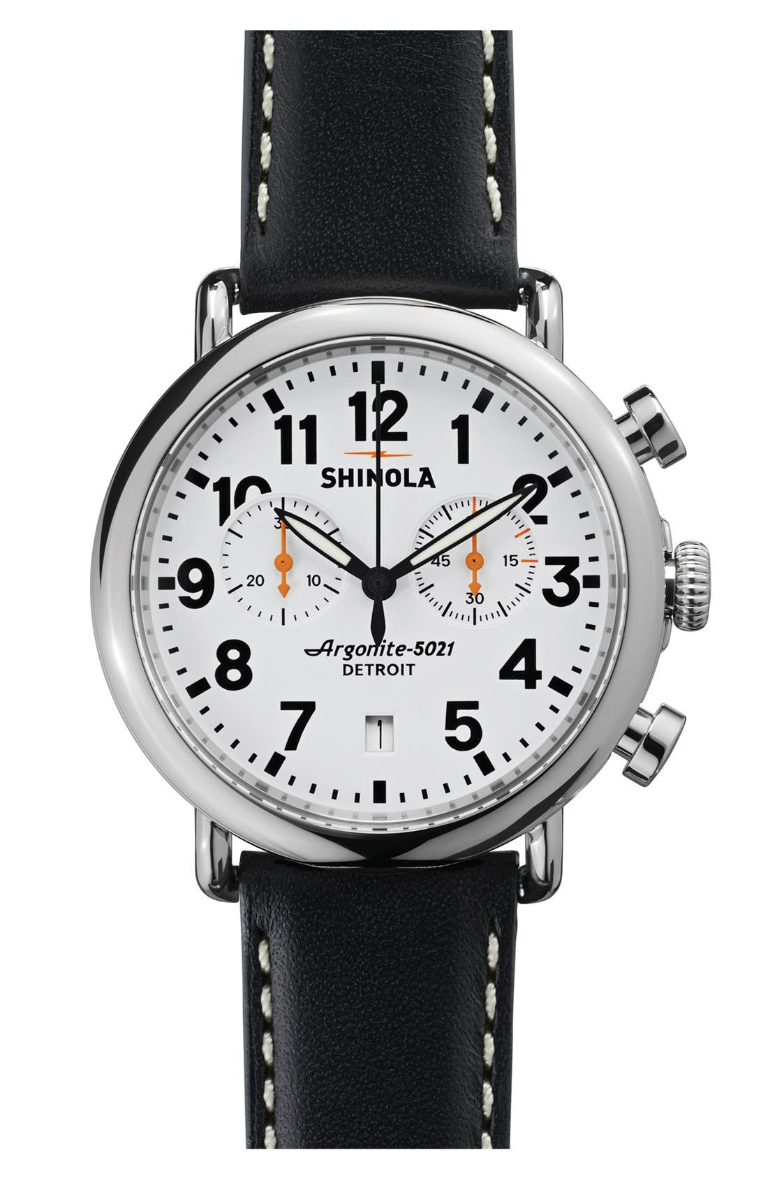 'The Runwell Chrono' Leather Strap Watch, 41mm,                         Main,                         color, Black/ White