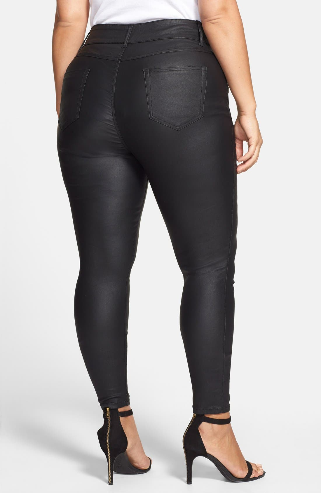Alternate Image 2  - City Chic 'Wet Look' Stretch Skinny Jeans (Black) (Plus Size)