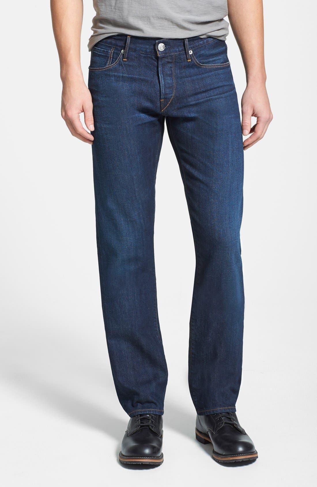 'M4' Straight Leg Selvedge Jeans,                             Main thumbnail 1, color,                             Makers