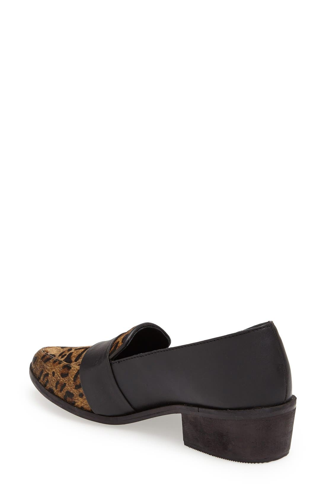 'Baha' Calf Hair and Leather Loafer,                             Alternate thumbnail 2, color,                             Black Leopard