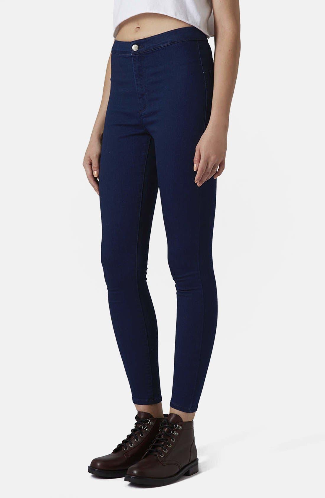 Main Image - Topshop Moto 'Joni' High Waist Skinny Jeans (Blue)