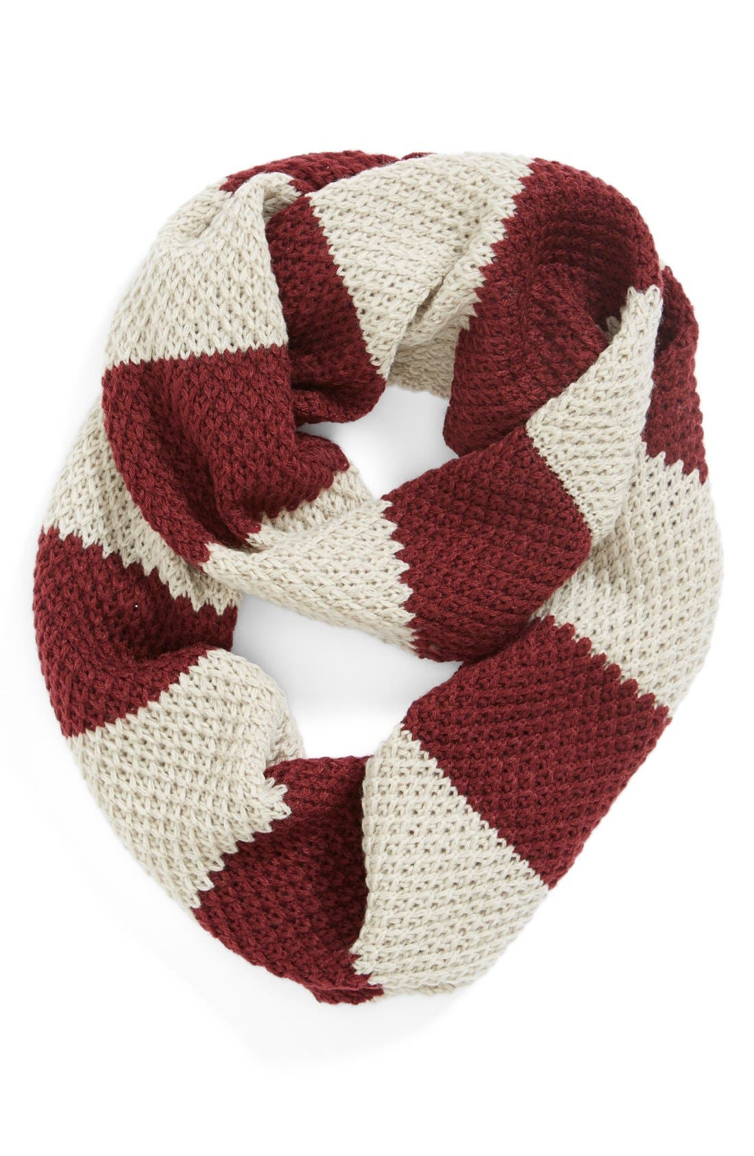 Stripe Infinity Scarf,                             Alternate thumbnail 2, color,                             Oxblood/ Ivory