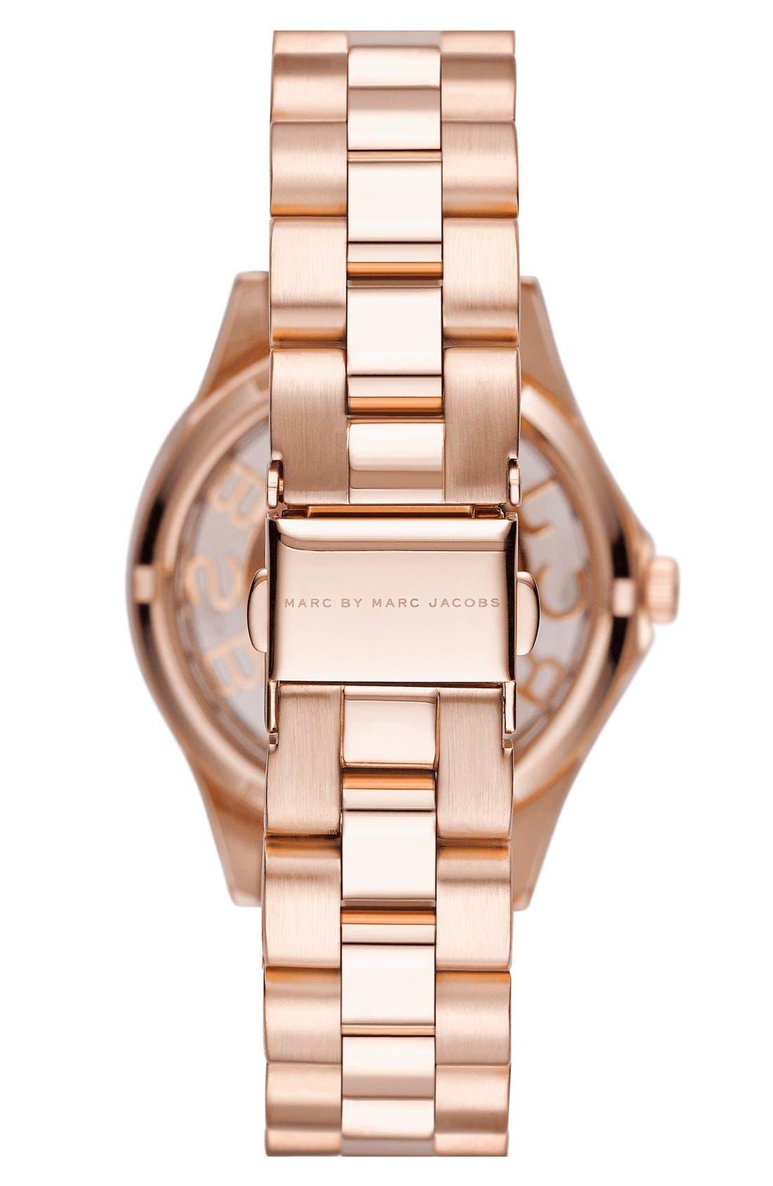 Alternate Image 2  - MARC JACOBS 'Henry Skeleton' Crystal Bezel Bracelet Watch, 34mm