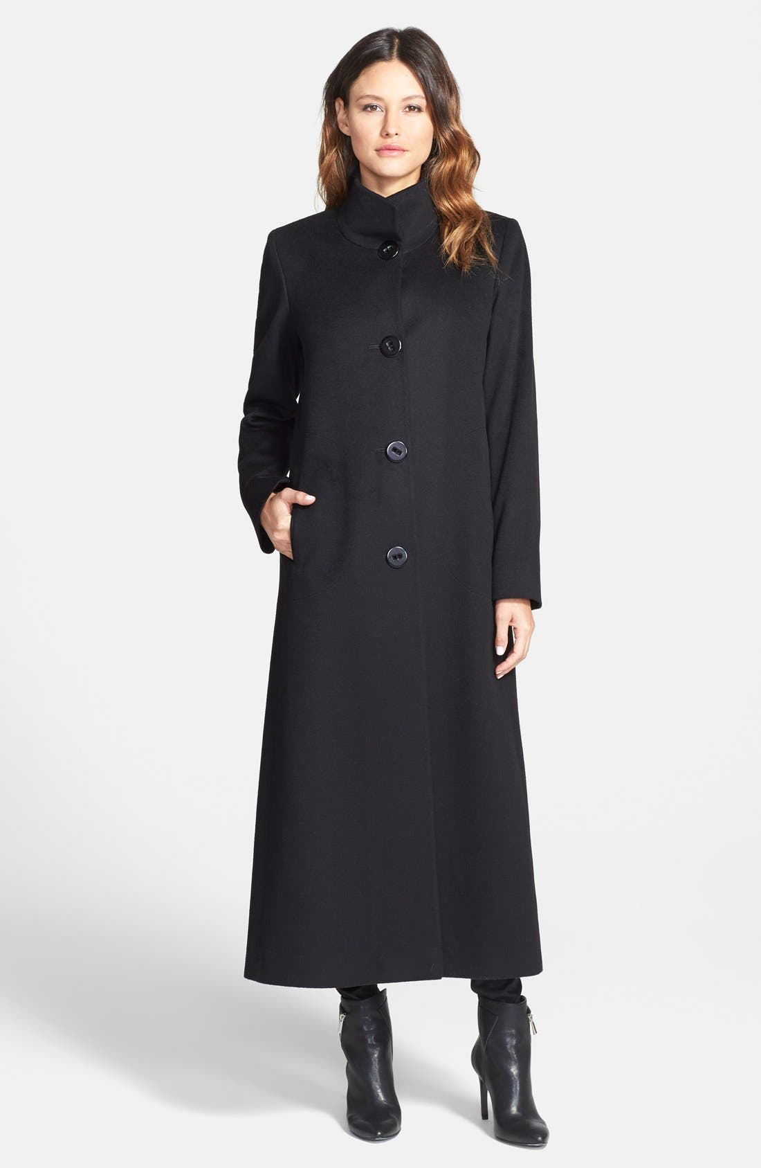 Alternate Image 1 Selected - Fleurette Stand Collar Long Cashmere Coat