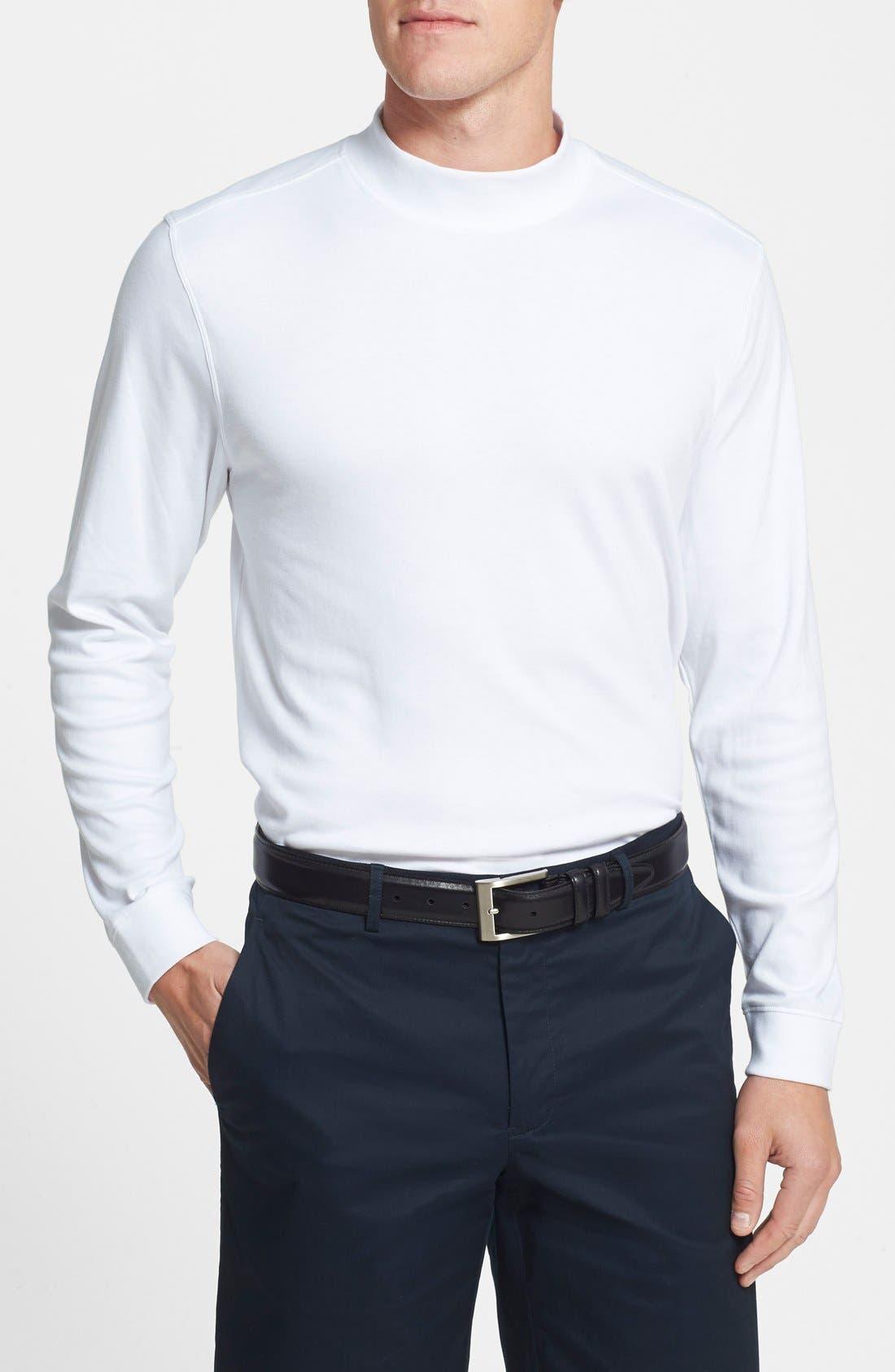 'Belfair' Long Sleeve Mock Neck Pima Cotton T-Shirt,                             Main thumbnail 1, color,                             White