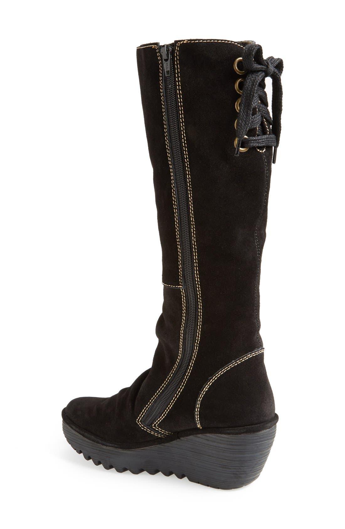 'Yust' Knee High Platform Wedge Boot,                             Alternate thumbnail 2, color,                             Black Suede