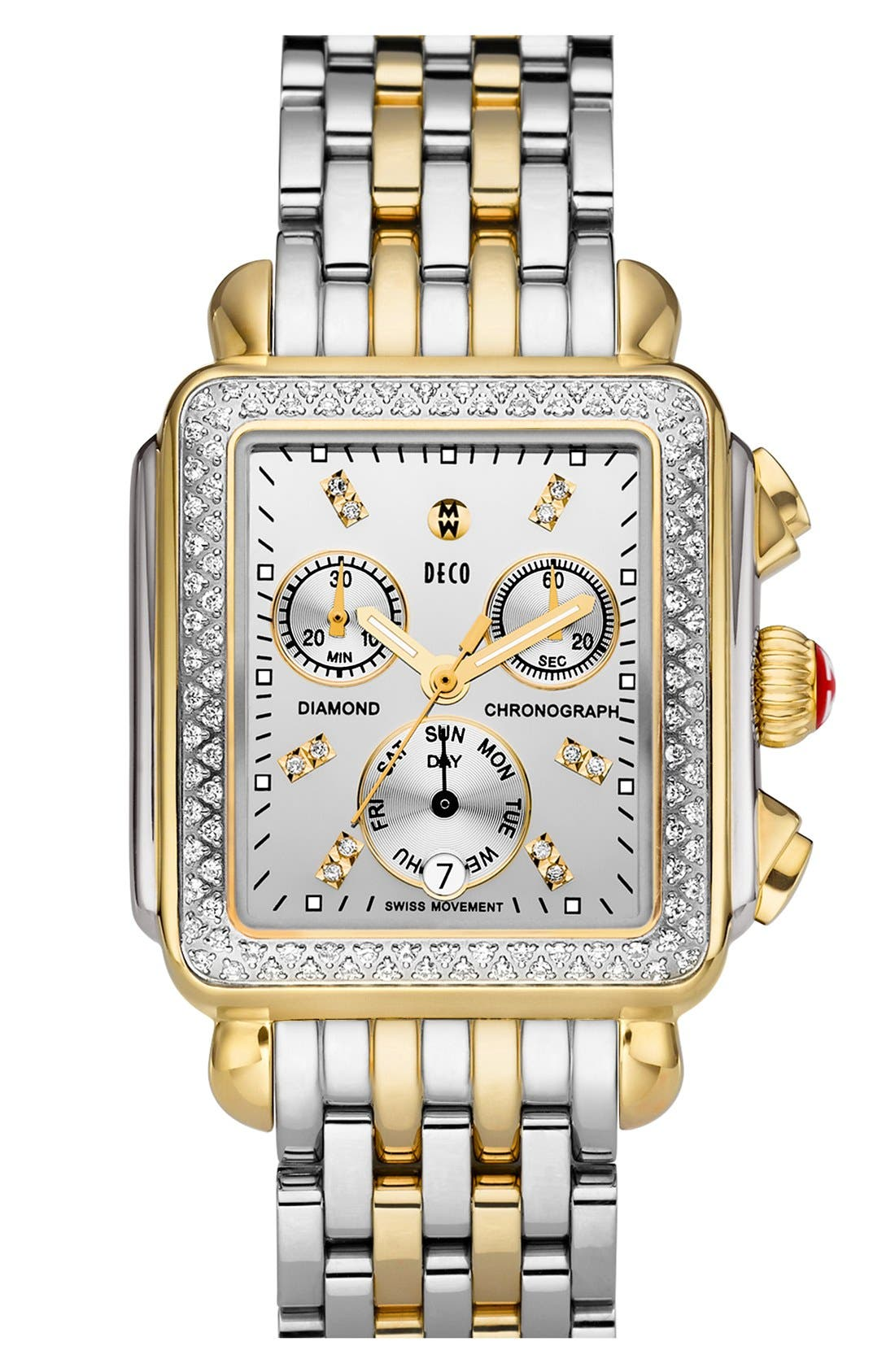 'Deco Diamond' Diamond Dial Two-Tone Watch Case, 33mm x 35mm,                             Alternate thumbnail 2, color,                             Gold/ Silver