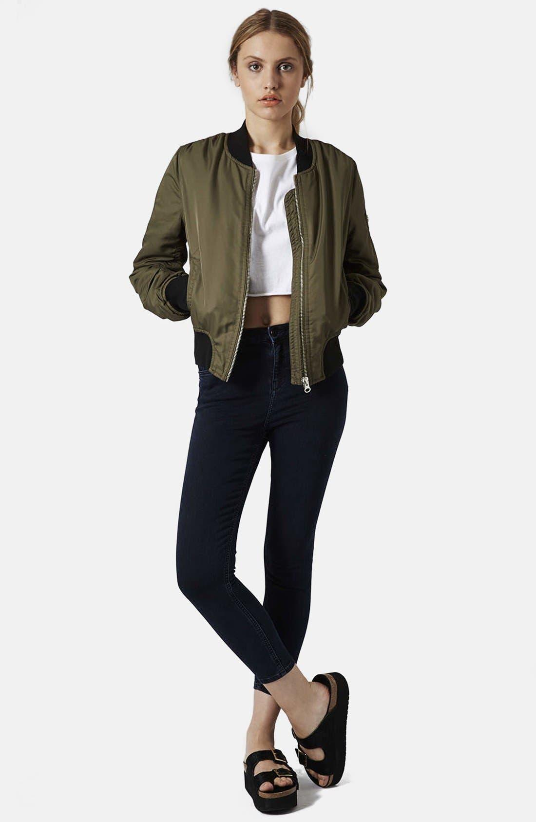 Alternate Image 5  - Topshop Moto 'Jamie' High Rise Ankle Skinny Jeans (Blue Black) (Regular, Short & Long)