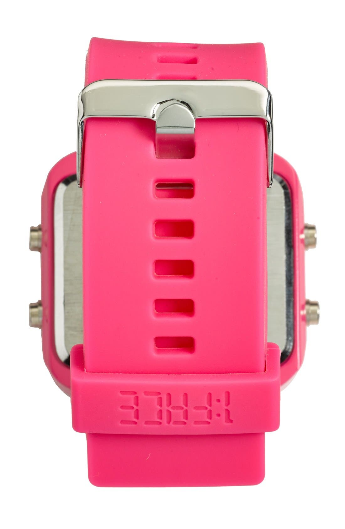 Alternate Image 4  - 1:Face 'Breast Cancer' Square Digital Silicone Strap Watch, 38mm