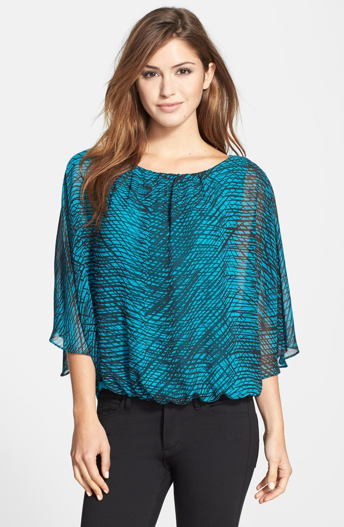 Alternate Image 1 Selected - Vince Camuto 'Twilight Thatches' Print Batwing Blouse