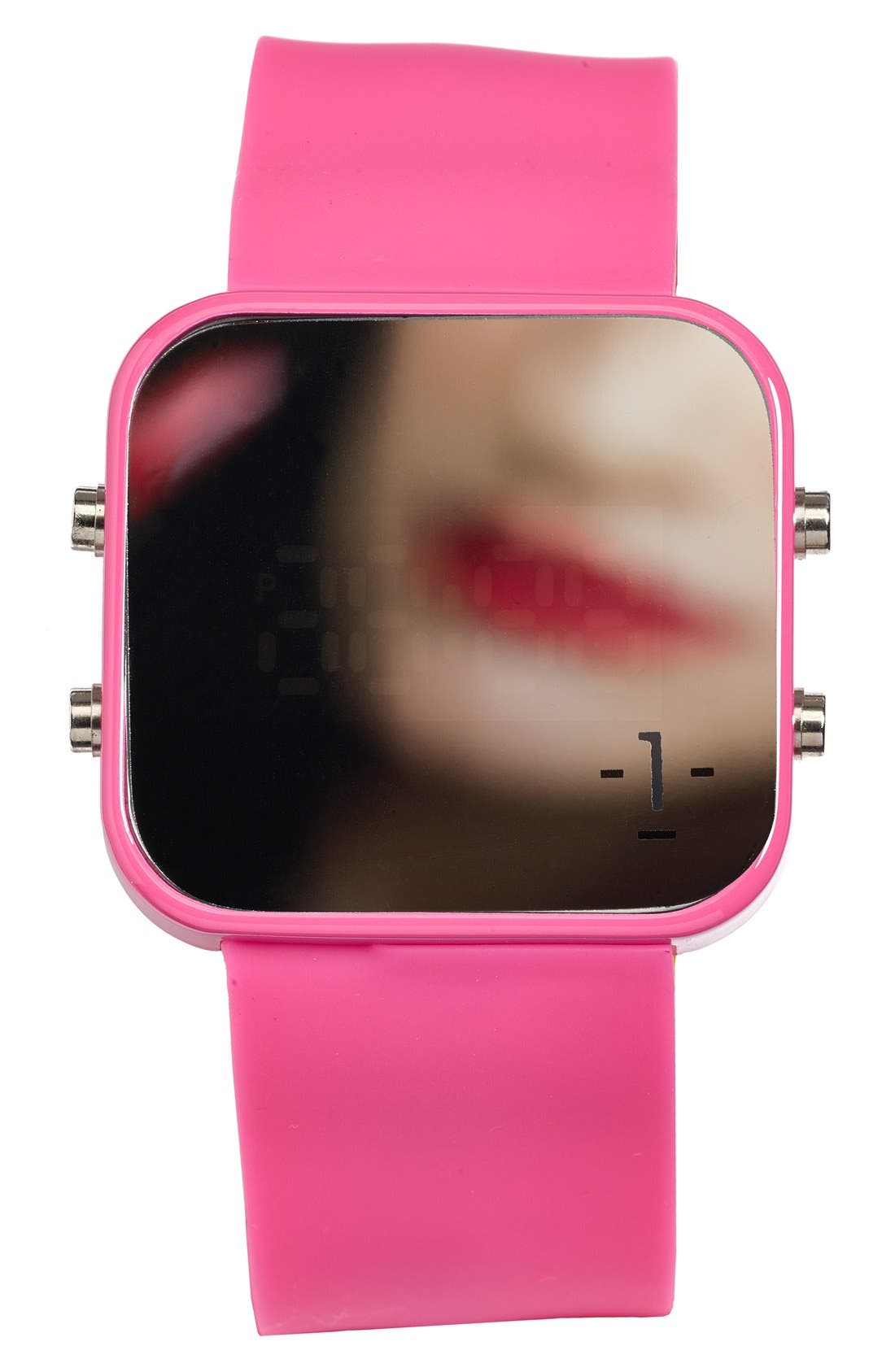 Alternate Image 3  - 1:Face 'Breast Cancer' Square Digital Silicone Strap Watch, 38mm