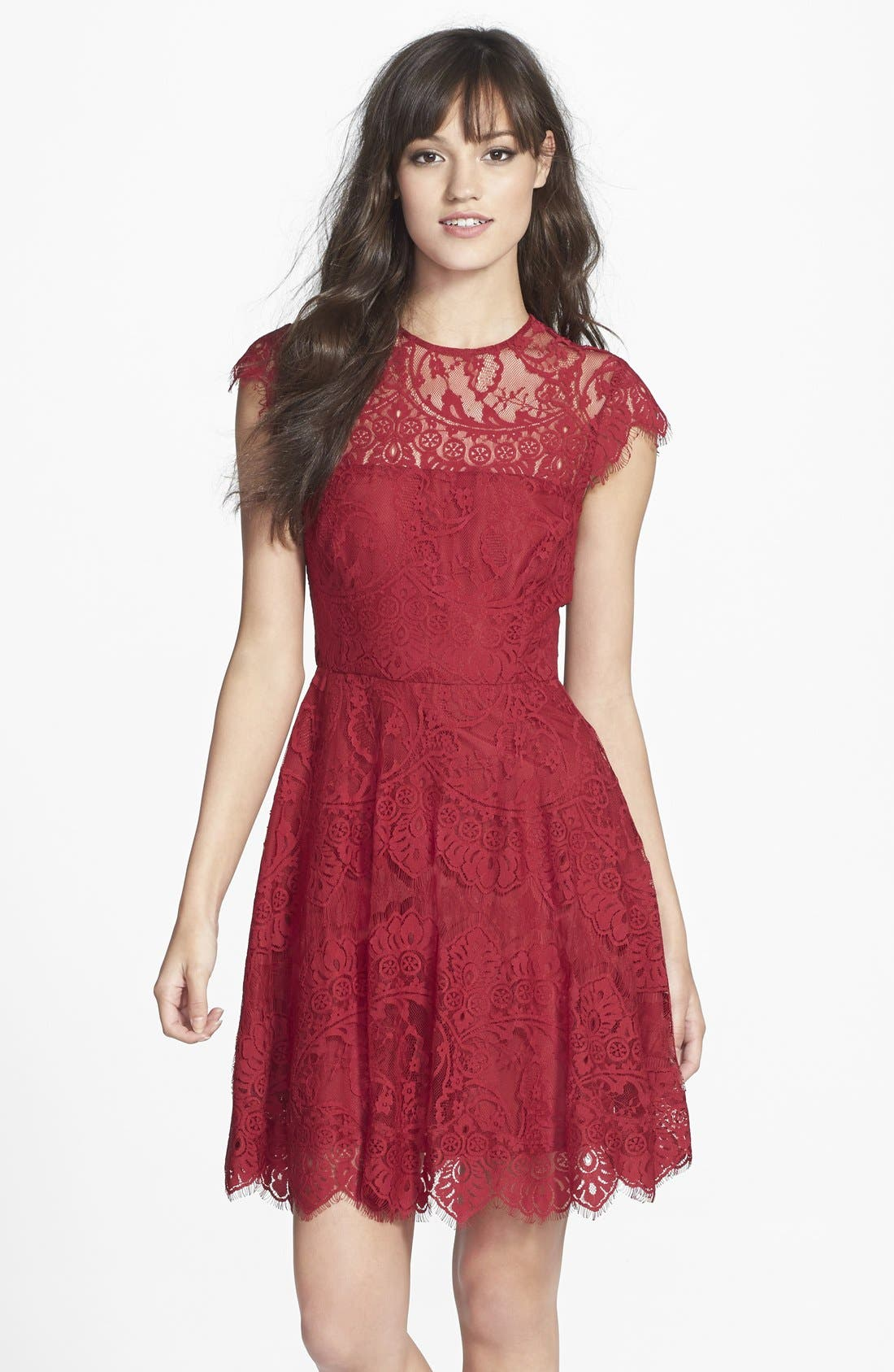 Main Image - BB Dakota 'Rhianna' Illusion Yoke Lace Fit & Flare Dress (Nordstrom Exclusive)