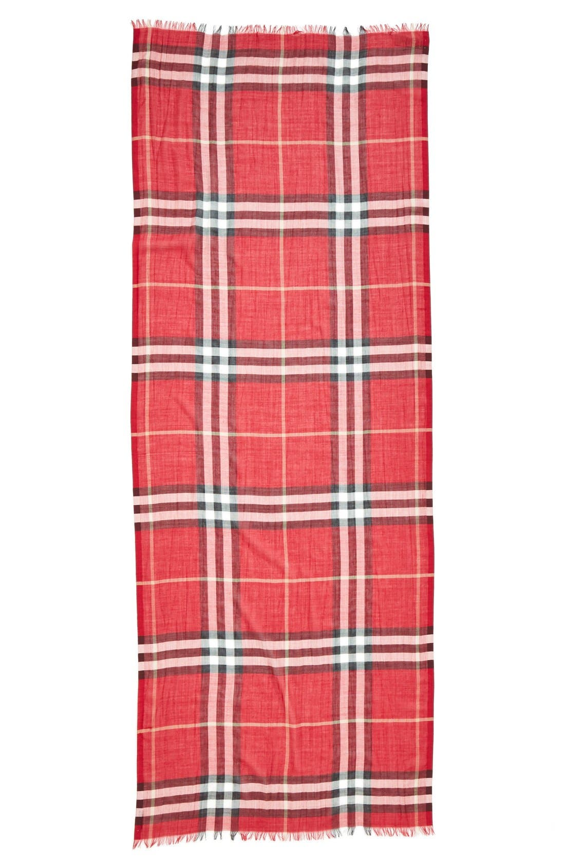 Burberry Giant Check Print Wool & Silk Scarf