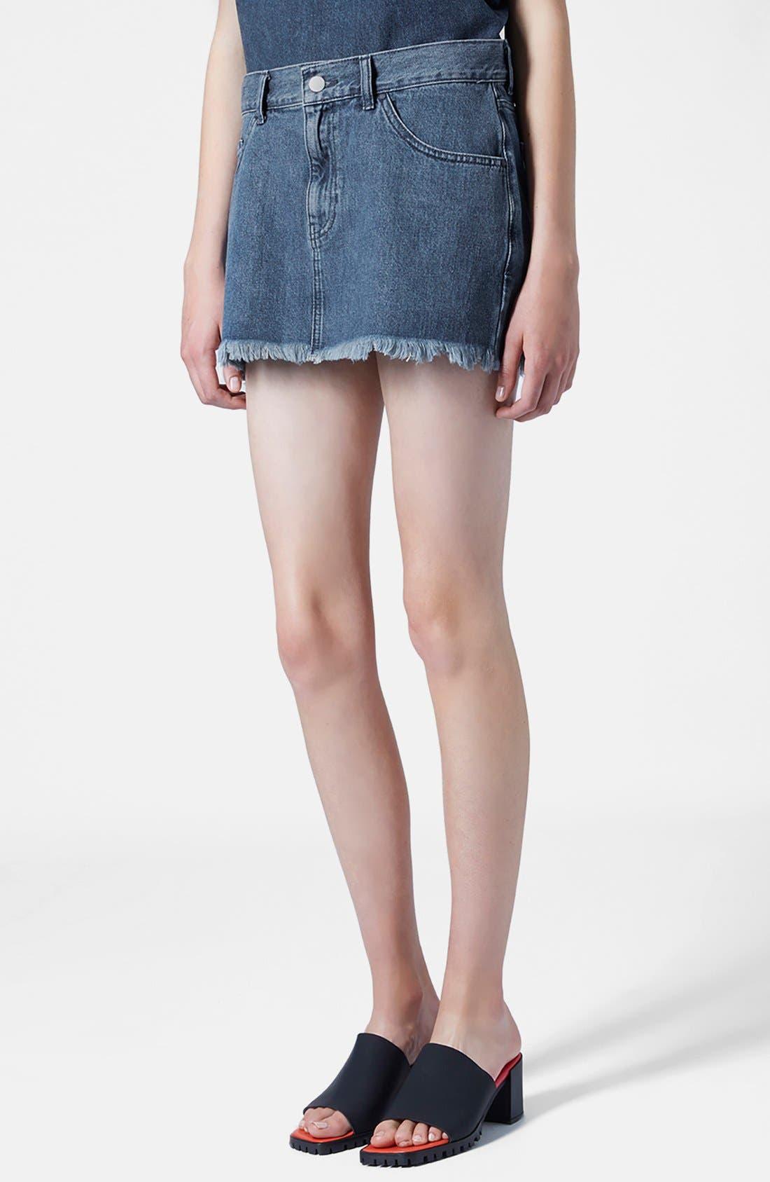 Alternate Image 1 Selected - Marques'Almeida for Topshop Denim Miniskirt
