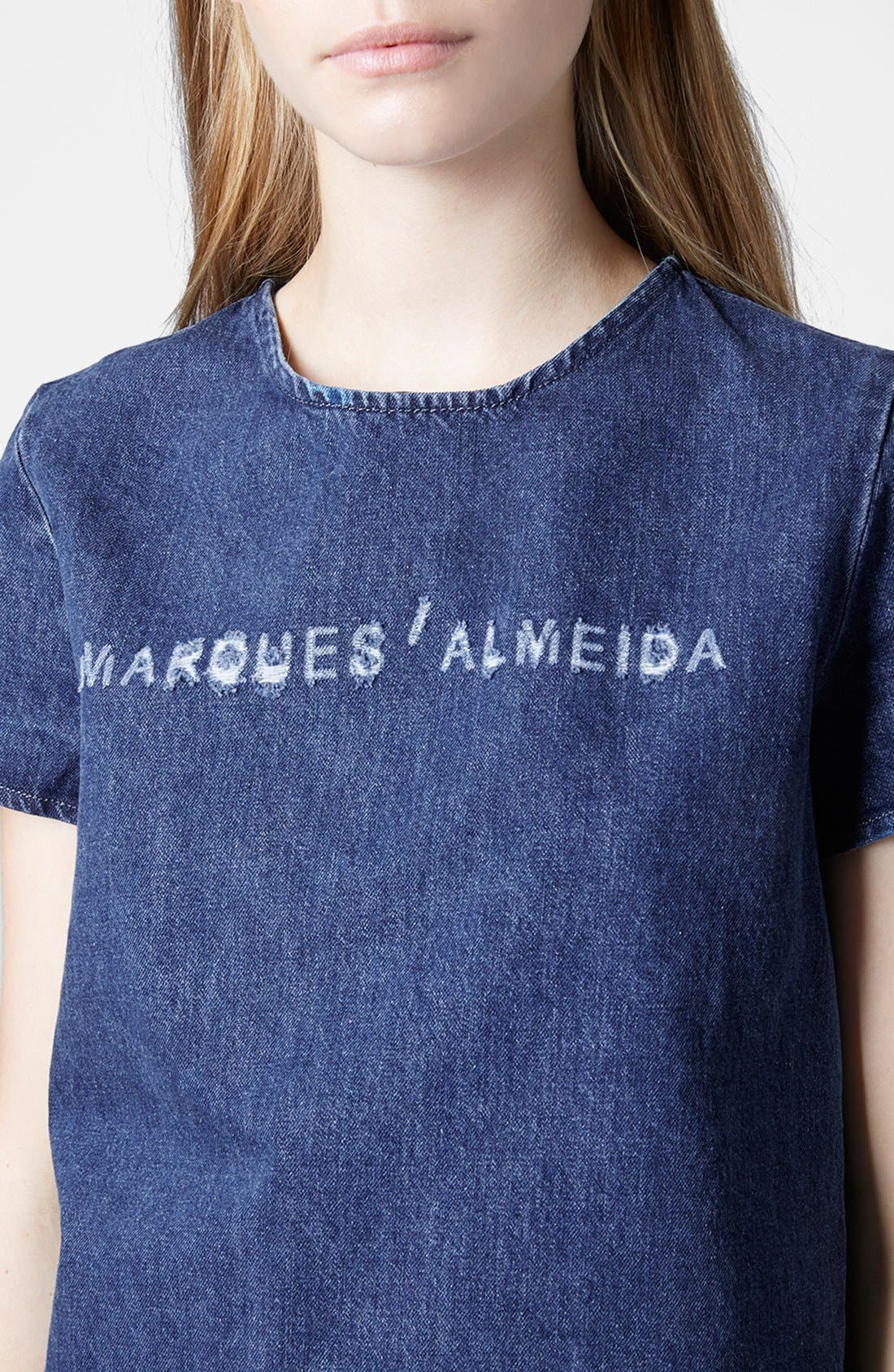 Alternate Image 4  - Marques'Almeida for Topshop Frayed Denim Crop Top