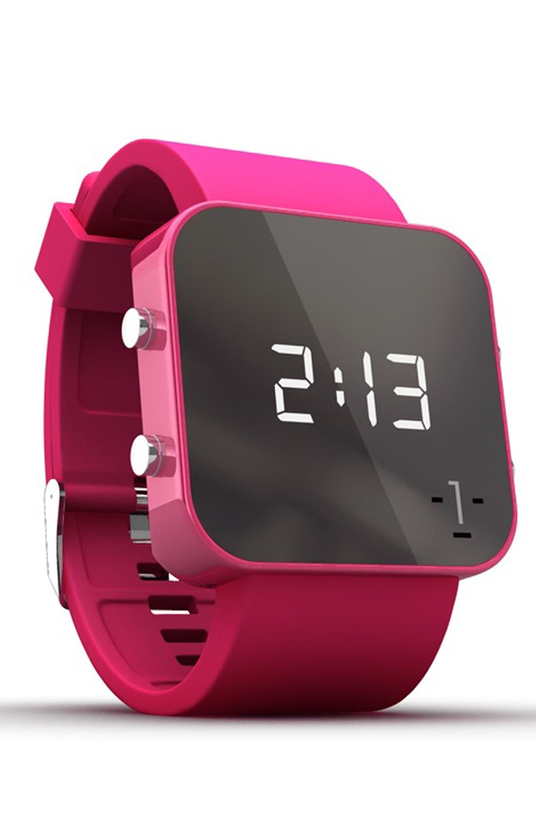 Alternate Image 2  - 1:Face 'Breast Cancer' Square Digital Silicone Strap Watch, 38mm