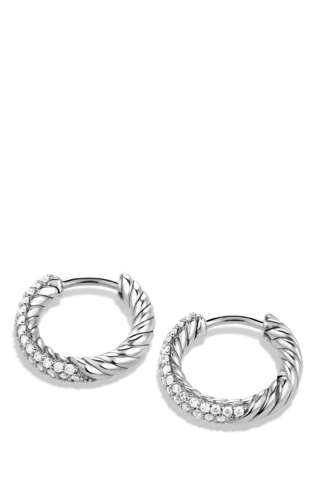 Petite Pavé Earrings with Diamonds,                             Alternate thumbnail 2, color,                             Diamond