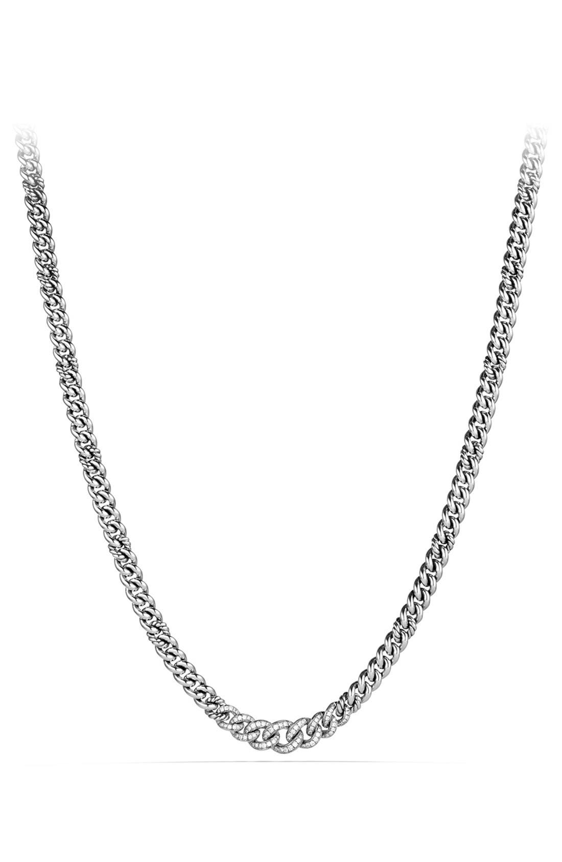 'Petite Pavé' Curb Chain Necklace with Diamonds,                             Main thumbnail 1, color,                             Diamond