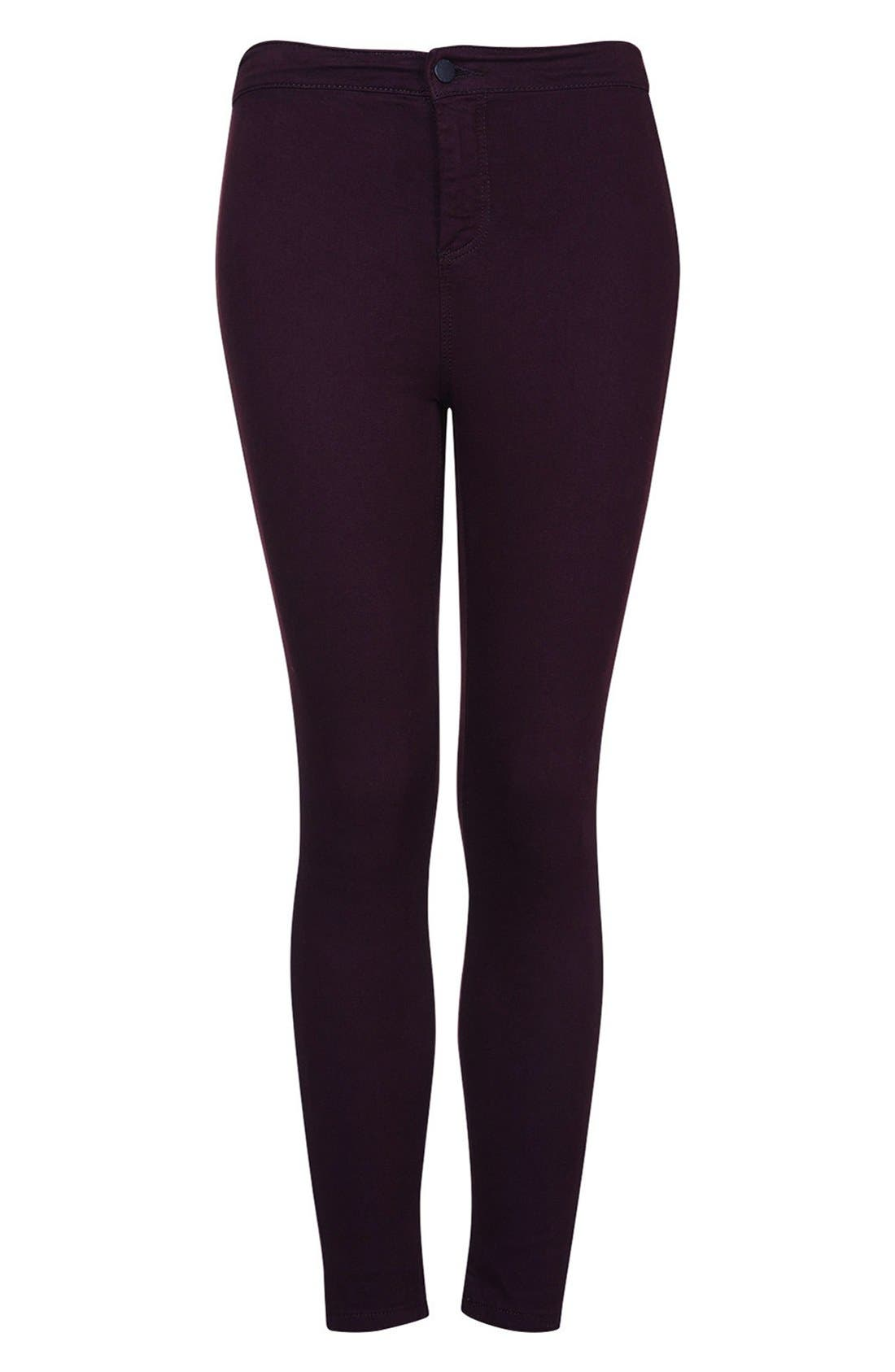 Alternate Image 3  - Topshop Moto 'Joni' High Rise Skinny Jeans (Purple) (Petite)