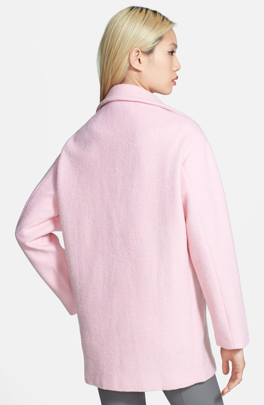Single Button Car Coat,                             Alternate thumbnail 2, color,                             Baby Pink