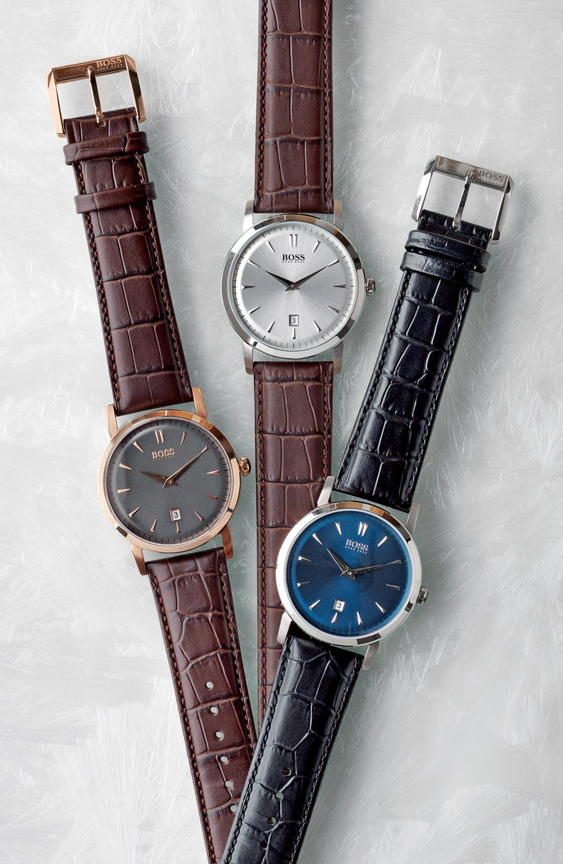 Alternate Image 4  - BOSS HUGO BOSS Round Leather Strap Watch, 40mm