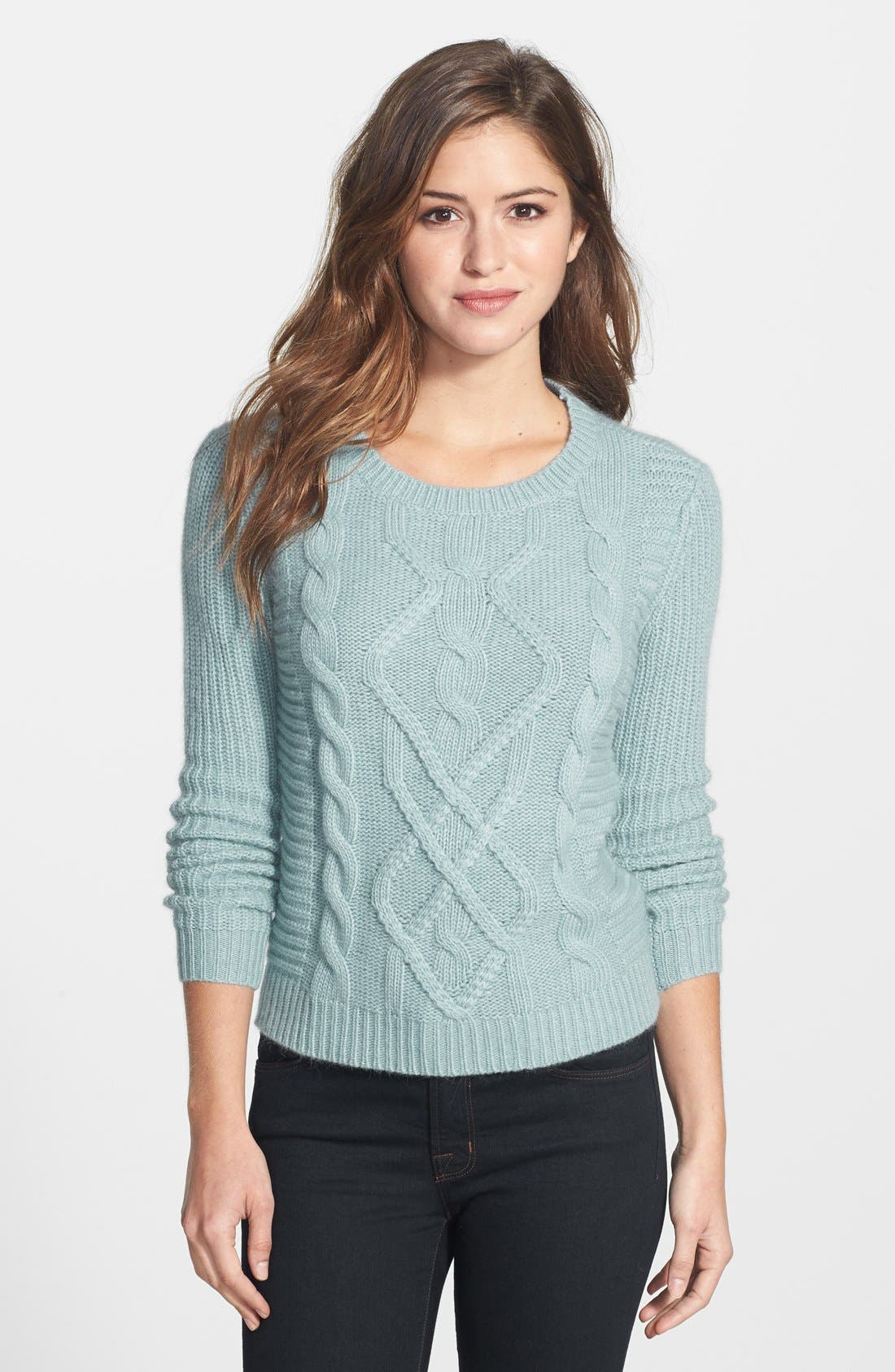 Cable Knit Sweater,                         Main,                         color, Blue Tourmaline