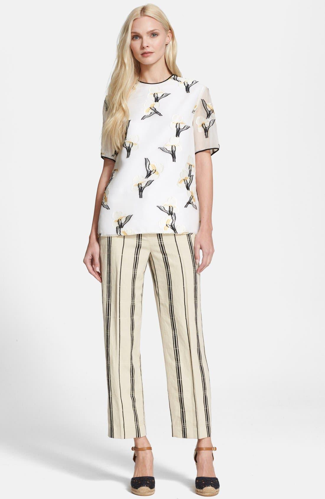 Alternate Image 4  - Tory Burch 'Carrie' Stripe Silk Blend Wide Leg Crop Pants