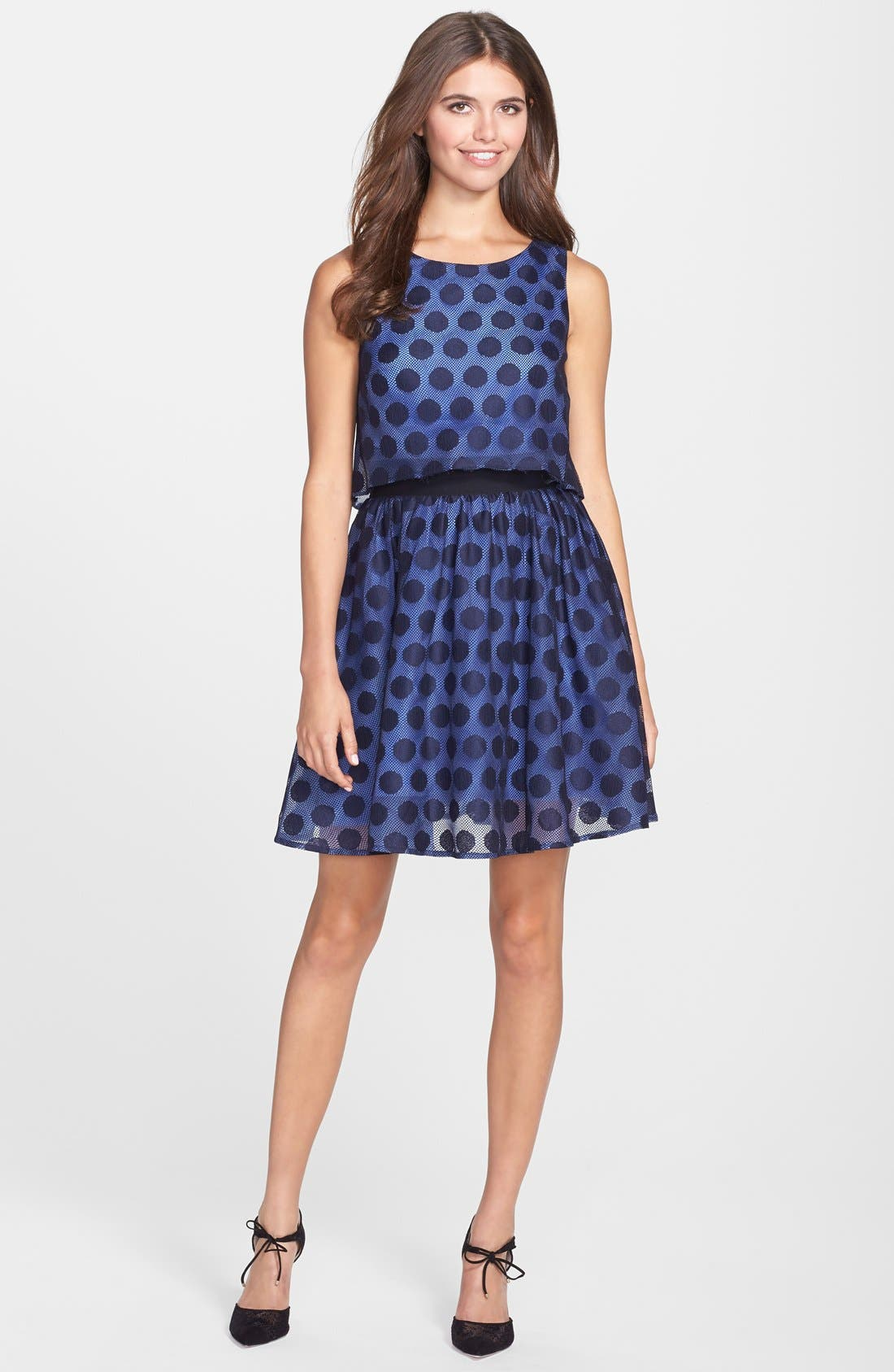 Alternate Image 3  - Betsey Johnson Dot Print Lace Pop Over Dress
