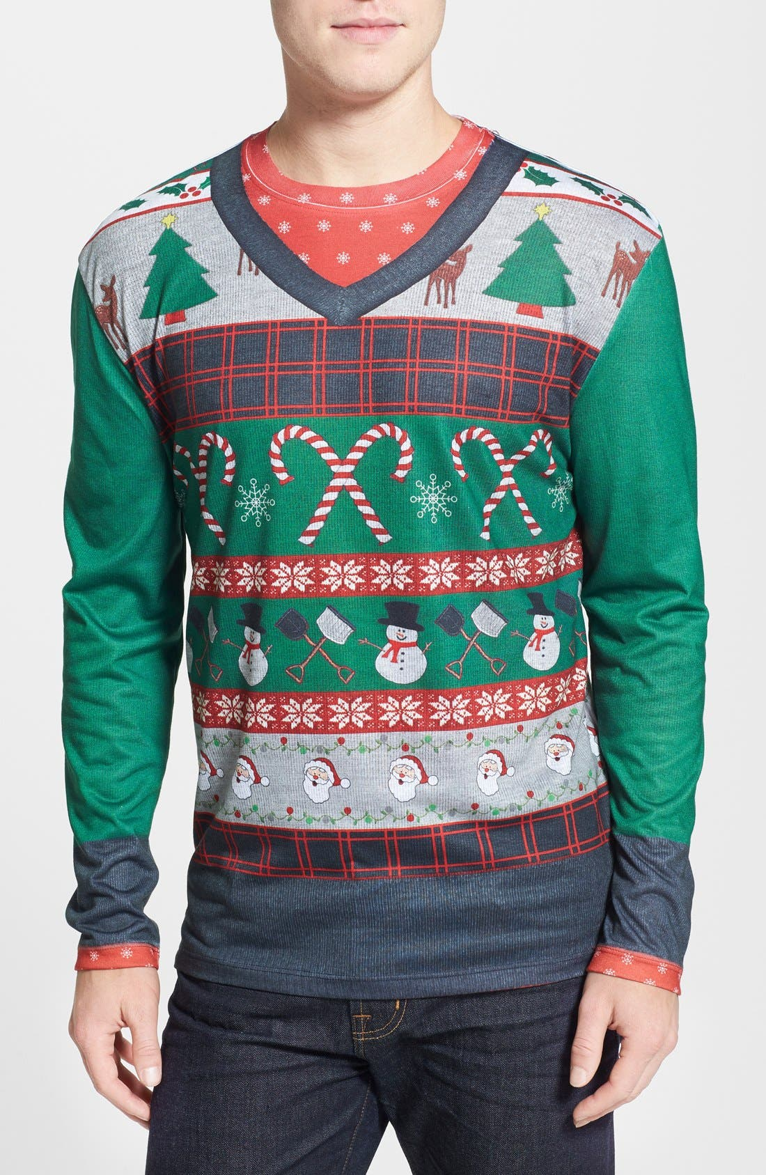 Faux Real Candy Cane Ugly Christmas Long Sleeve Novelty T-Shirt (Men)