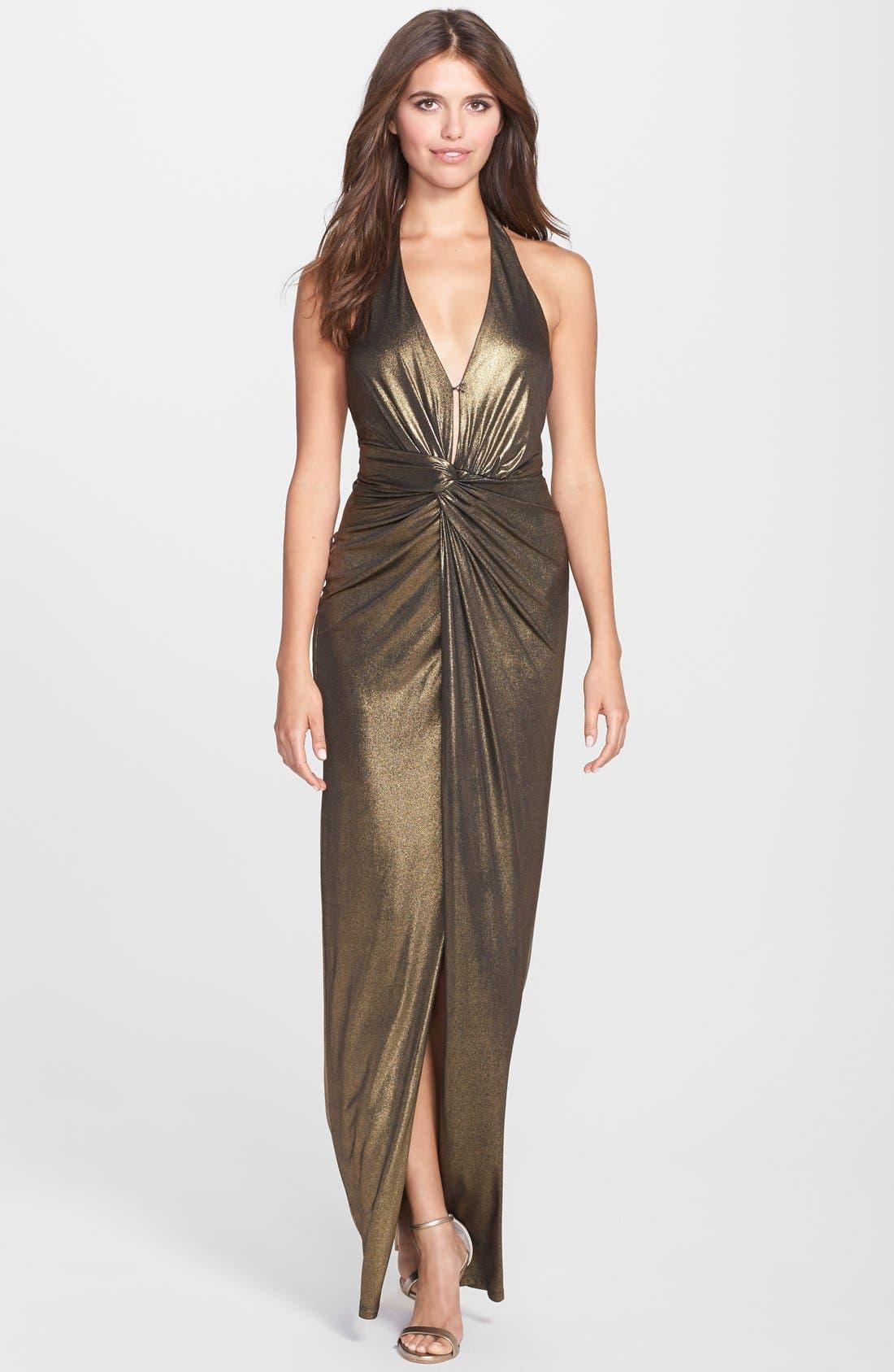 Main Image - Halston Heritage Metallic Twist Front Halter Gown