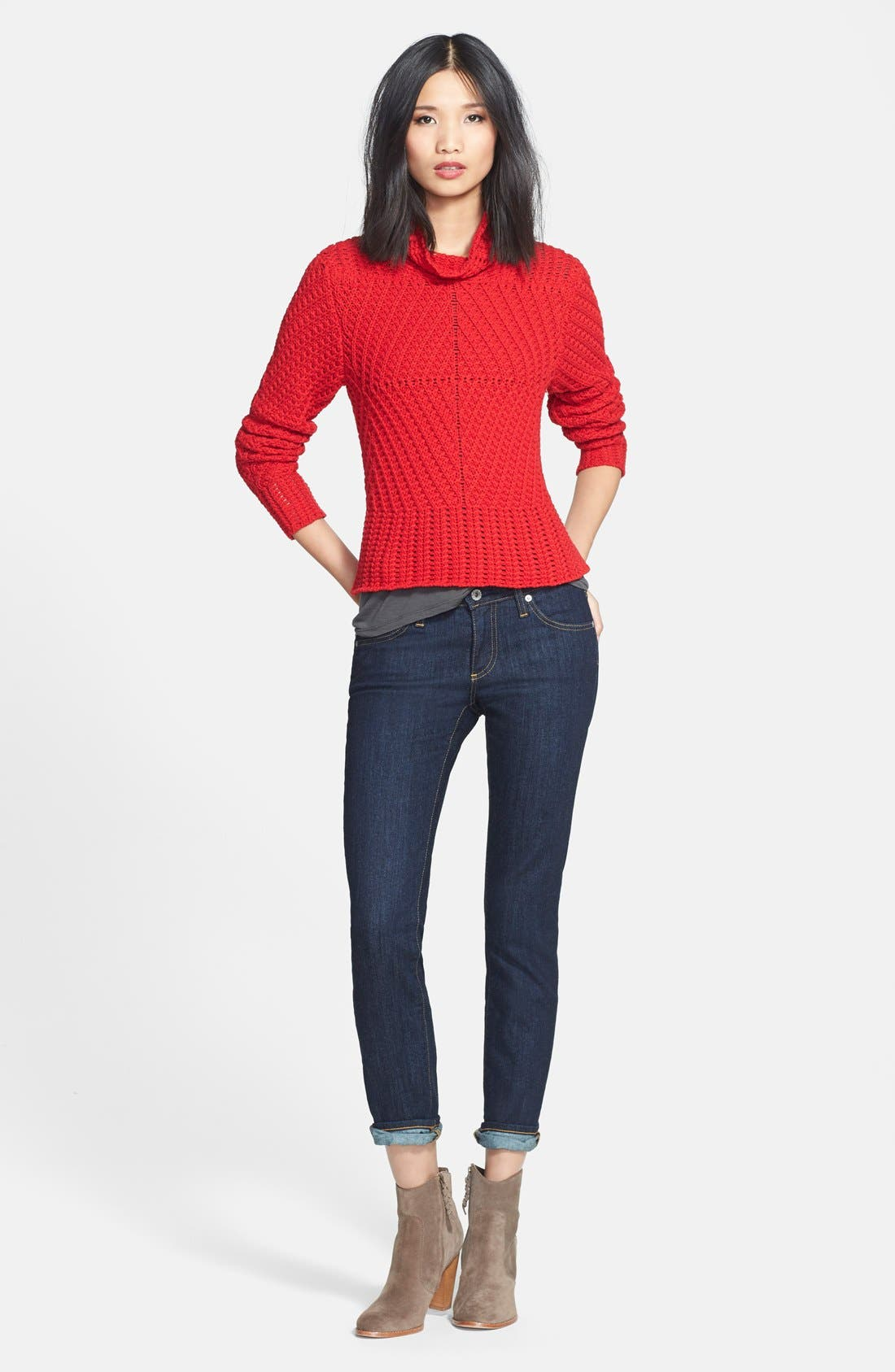 Alternate Image 4  - 1.STATE Funnel Neck Cable Knit Sweater