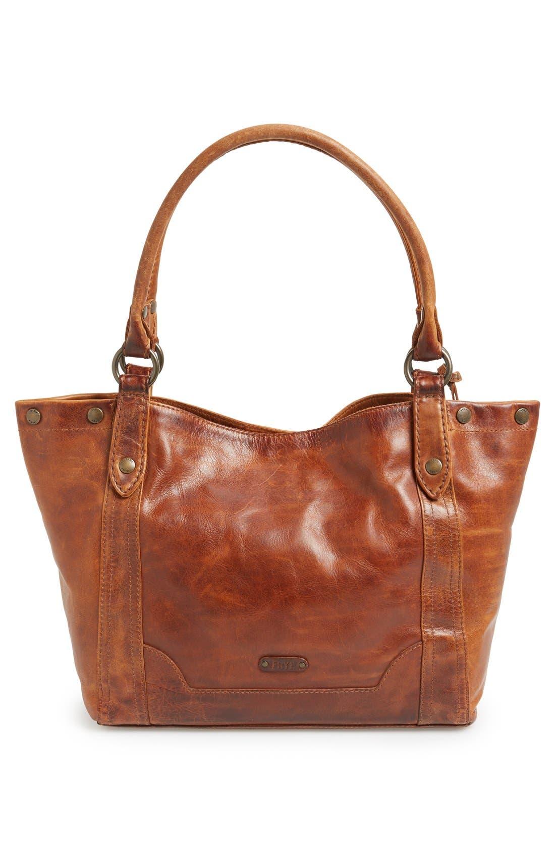 Melissa Leather Shoulder Bag,                             Alternate thumbnail 3, color,                             Cognac