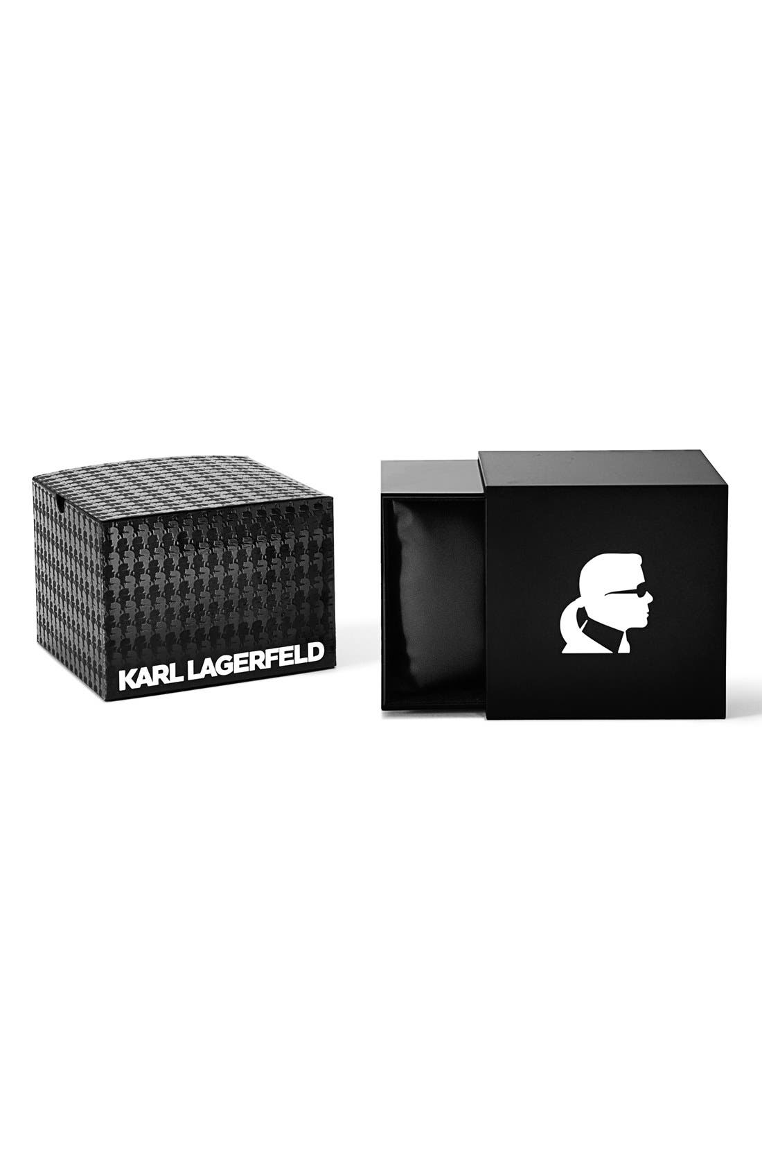 Alternate Image 4  - KARL LAGERFELD '7' Faceted Bezel Leather Strap Watch, 44mm