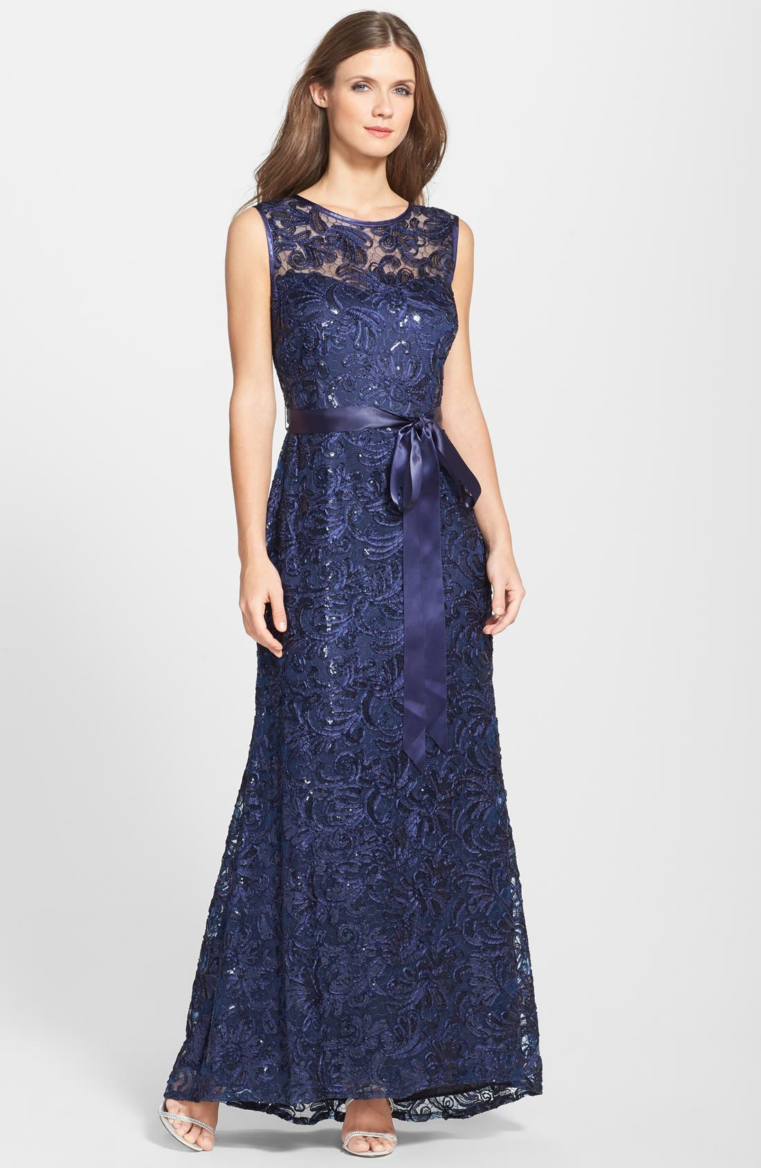 Main Image - Betsy & Adam Sleeveless Sequined Lace Gown