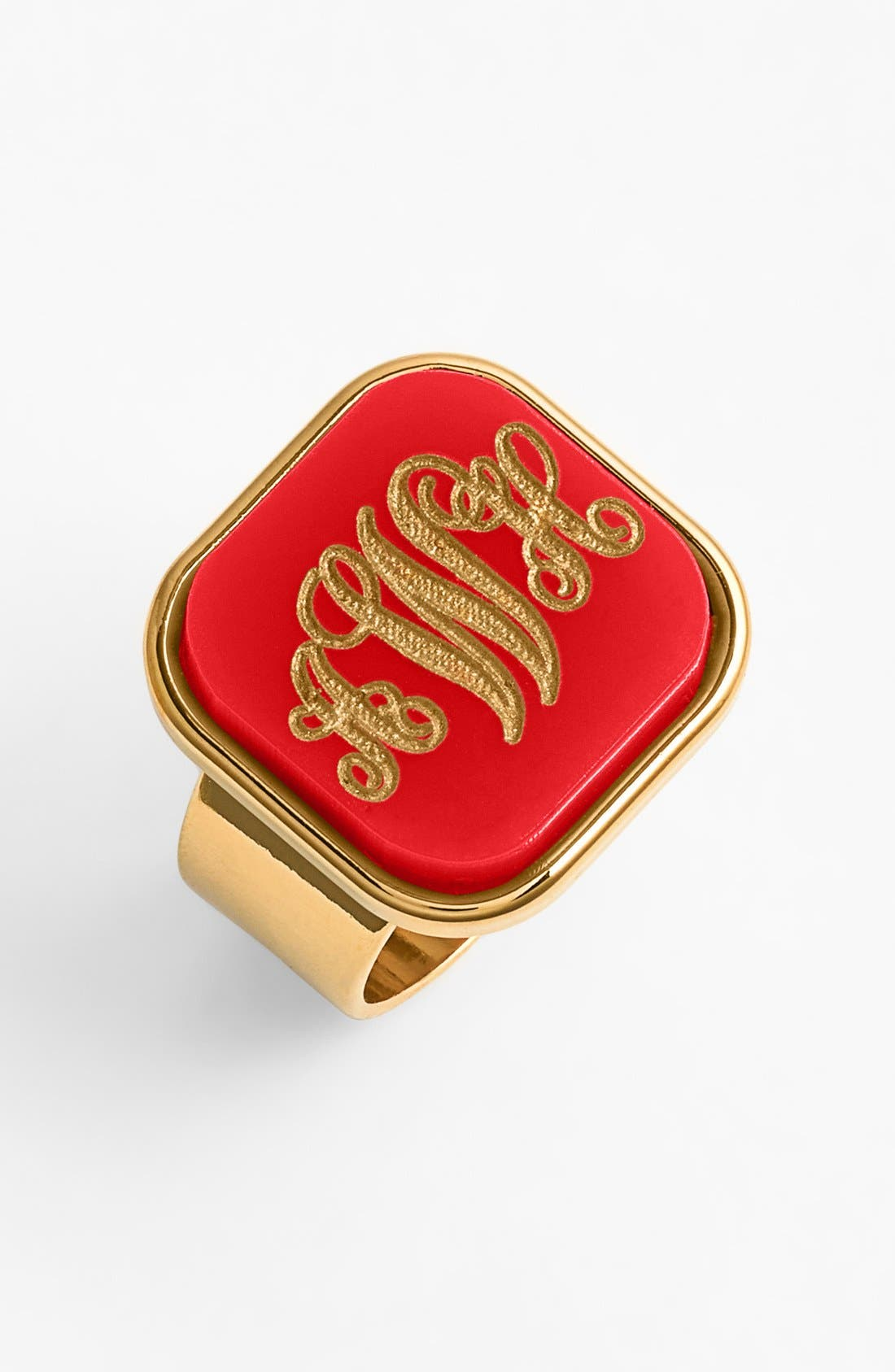 MOON AND LOLA 'Vineyard' Personalized Monogram Ring in Ruby