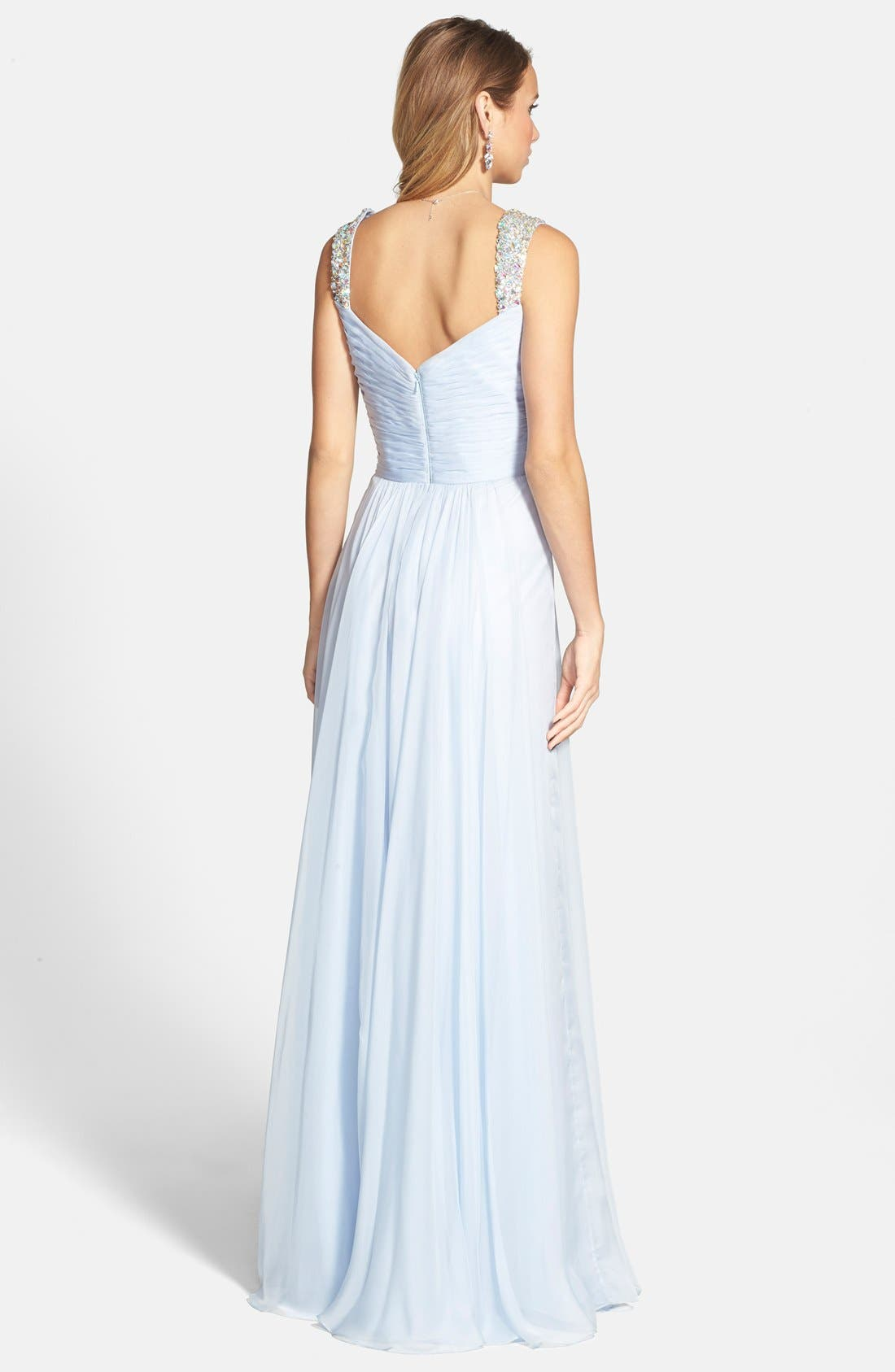 Alternate Image 2  - La Femme Beaded Strap Ruched Chiffon Gown