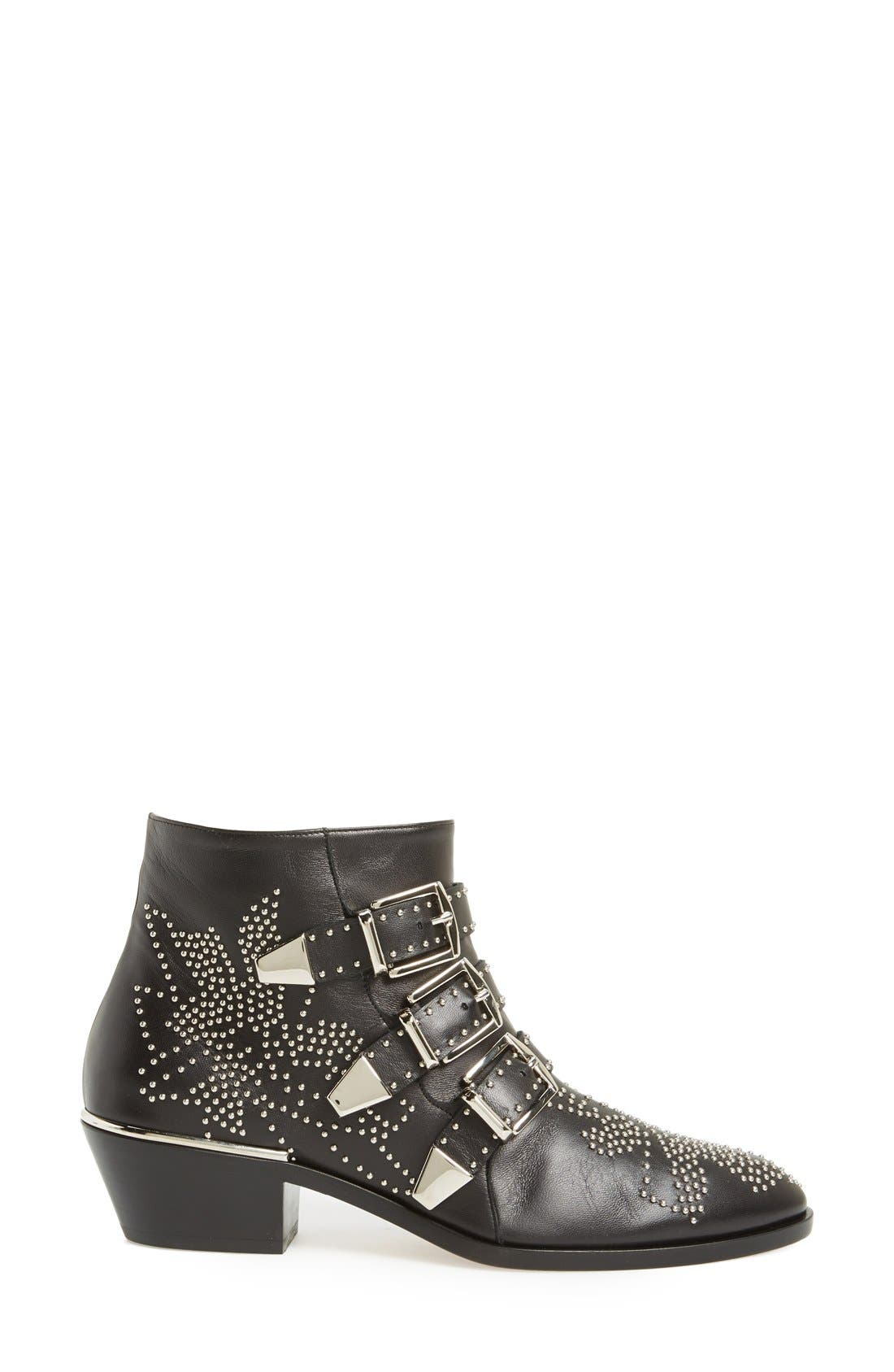 'Suzanna' Stud Bootie,                             Alternate thumbnail 4, color,                             Black