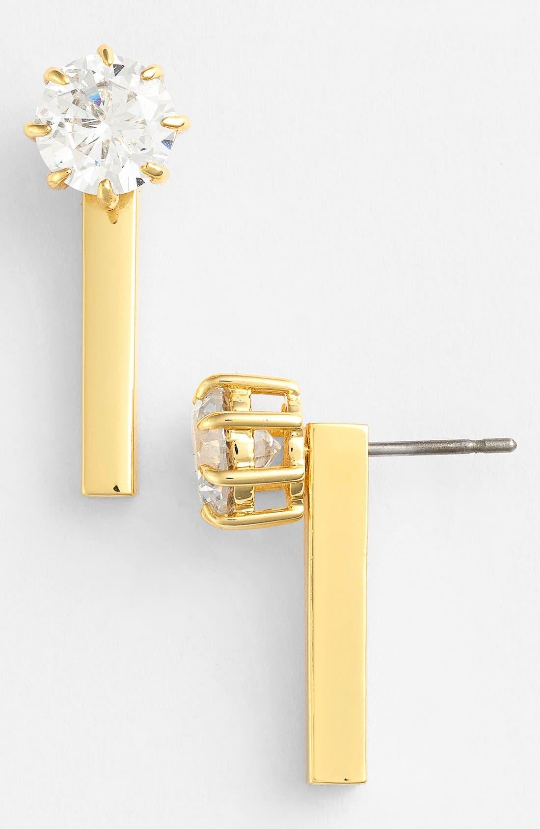 Main Image - Ariella Collection Crystal & Bar Drop Back Earrings
