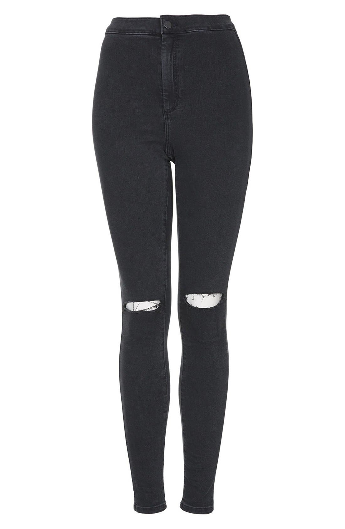 Alternate Image 3  - Topshop 'Joni' Ripped Skinny Jeans (Black)