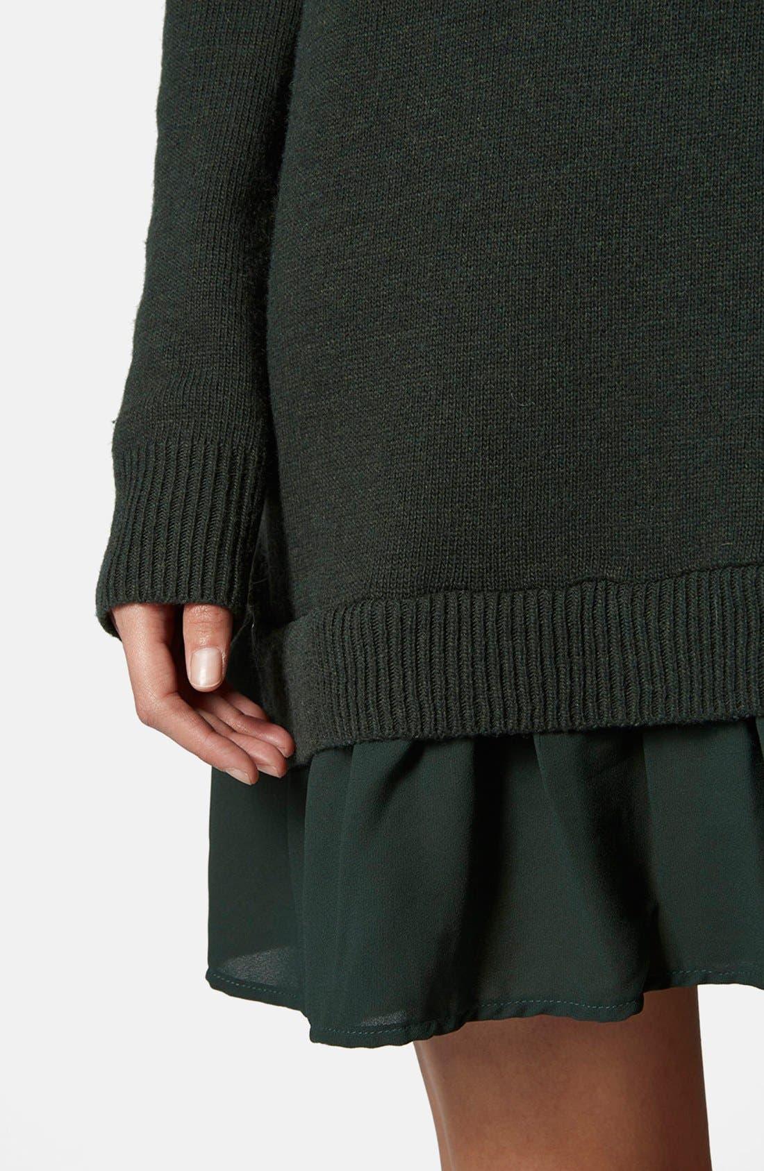 Alternate Image 4  - Topshop Woven Hem V-Neck Sweater Dress