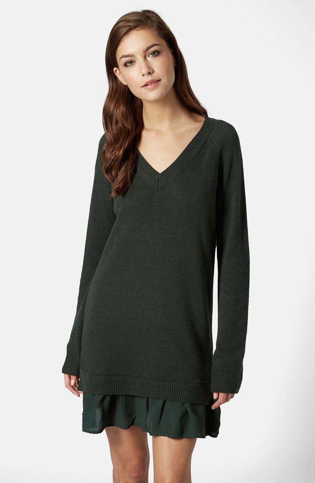 Alternate Image 1 Selected - Topshop Woven Hem V-Neck Sweater Dress
