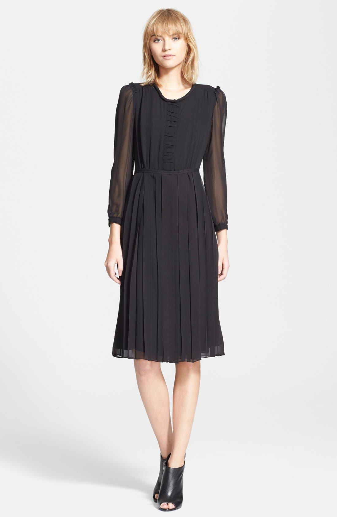 Alternate Image 1 Selected - Burberry Brit 'Elenor' Pleat Mulberry Silk Dress