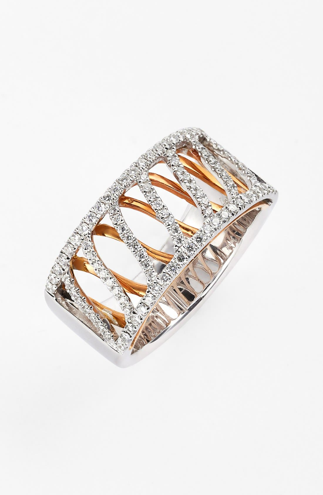 Main Image - Bony Levy Wide Two-Tone Diamond Ring (Limited Edition) (Nordstrom Exclusive)