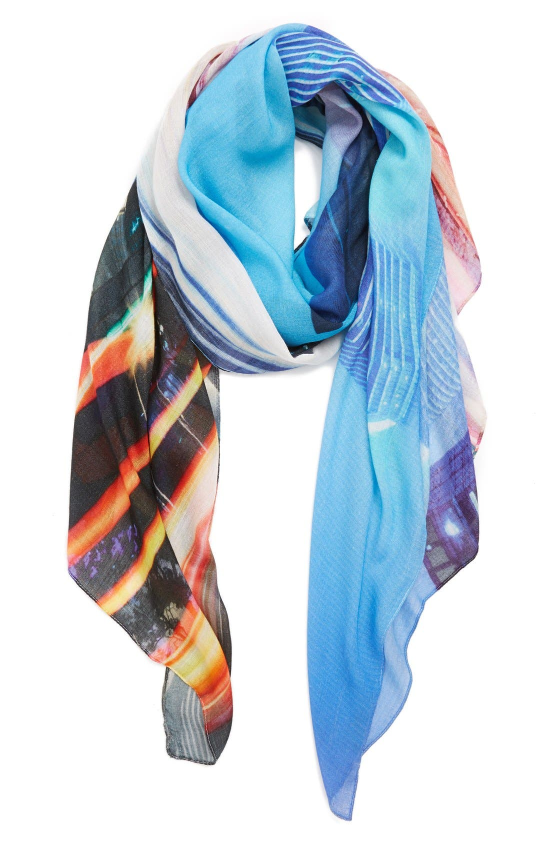 'Fly By' Digital Print Scarf,                             Main thumbnail 1, color,                             Meridian