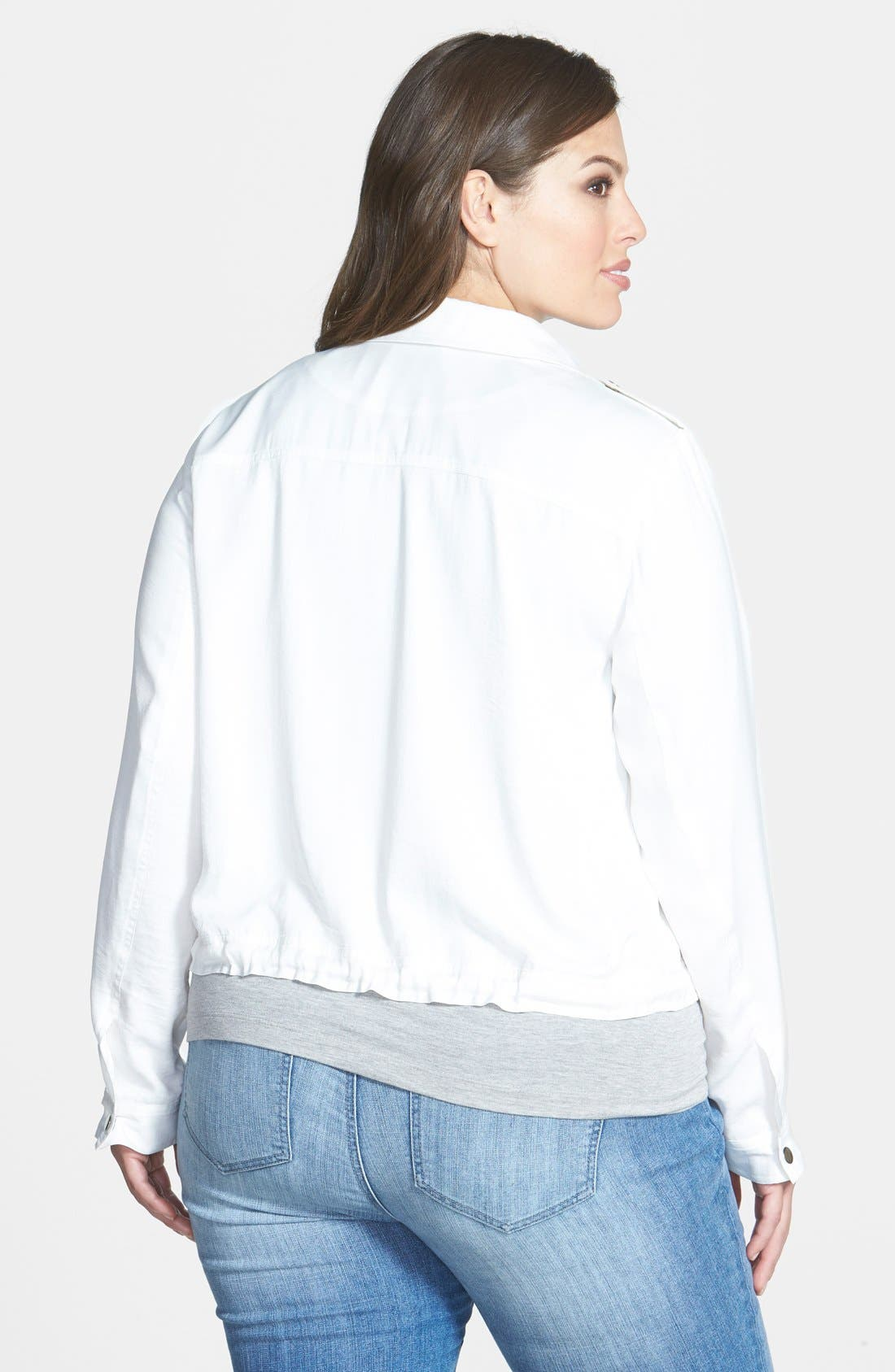 Alternate Image 2  - Sejour Patch Pocket Crop Jacket (Plus Size)